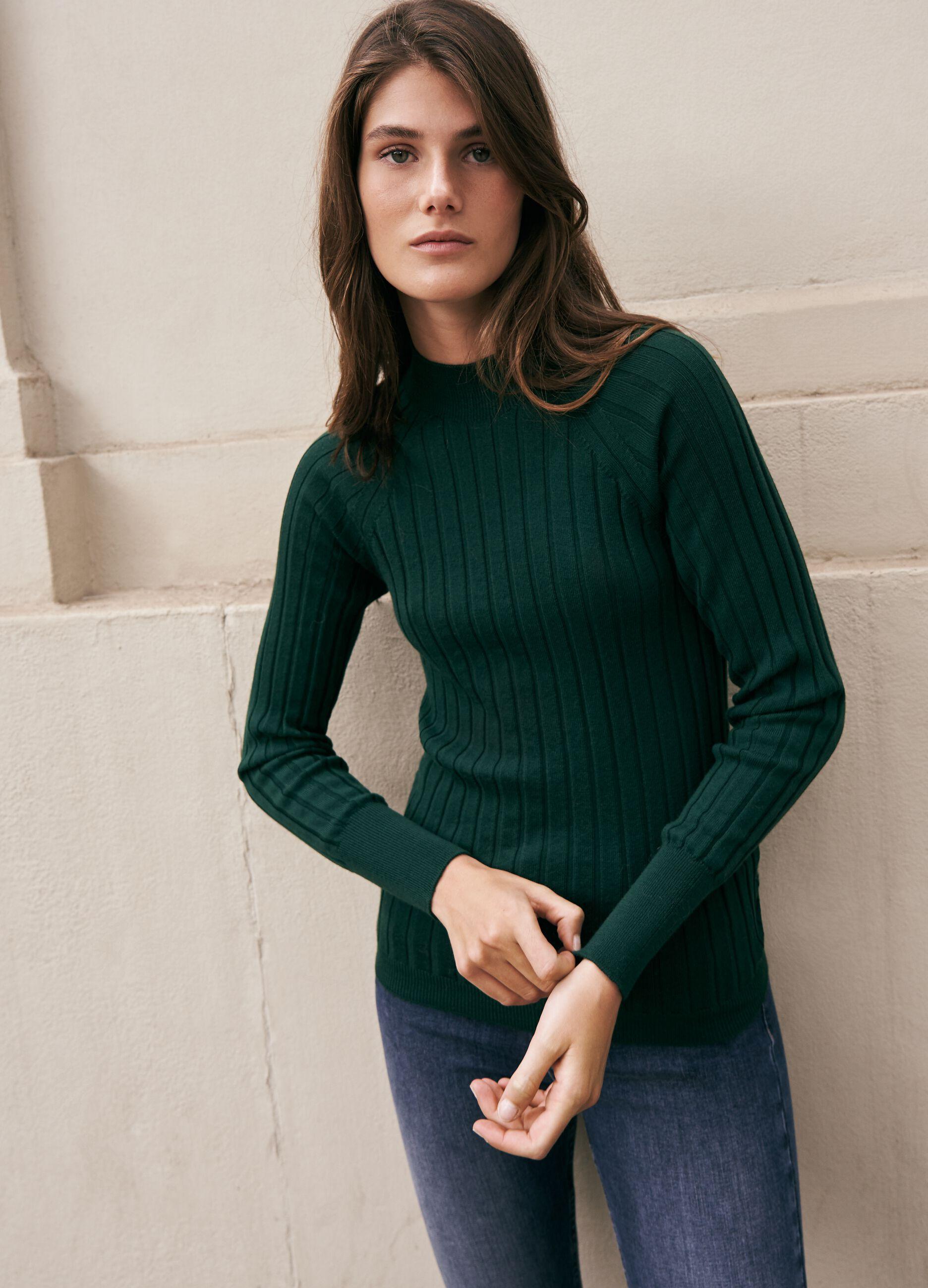 Pullover in lana merinos a coste piatte Verde