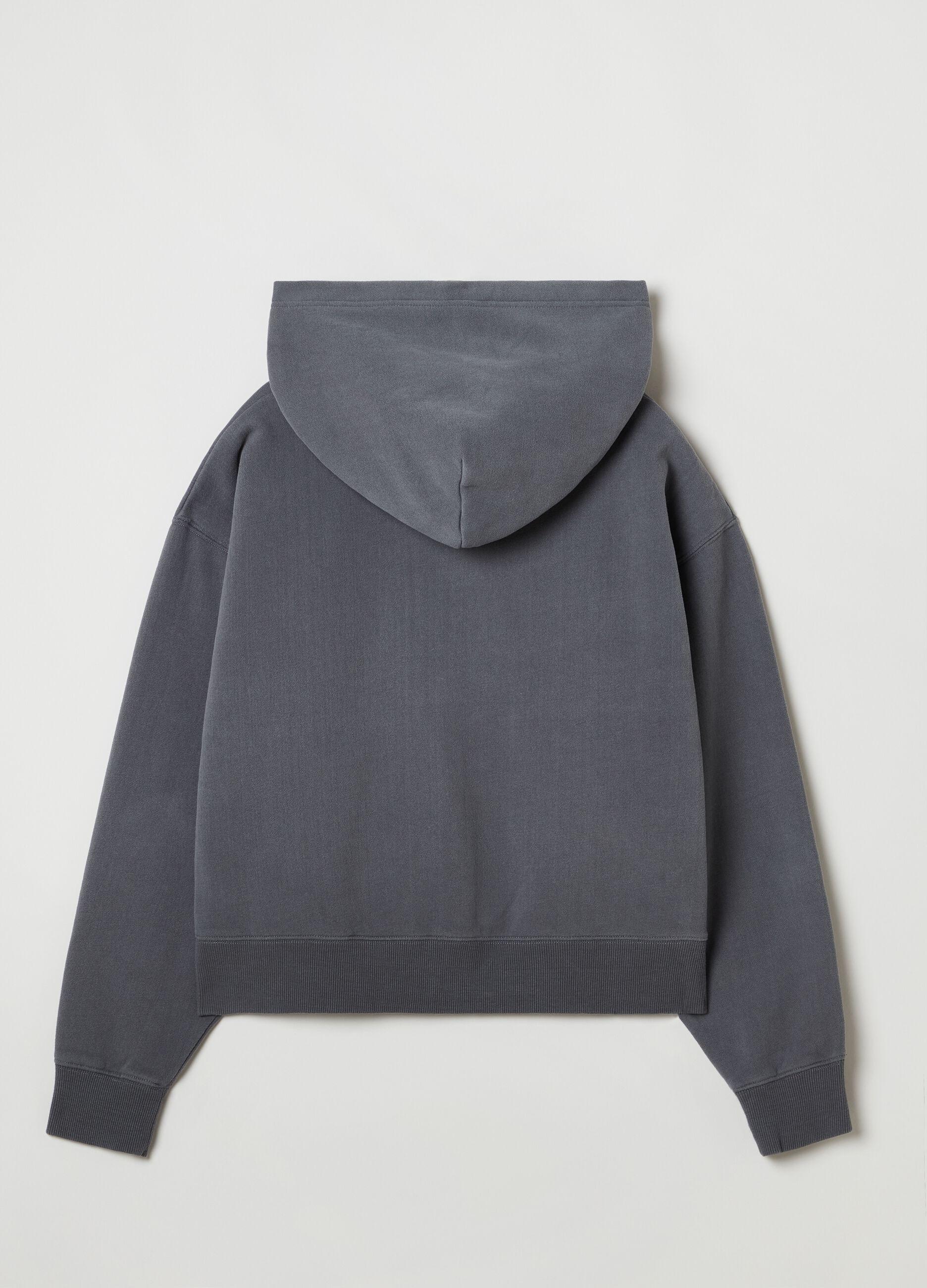 Full-zip con cappuccio tinta in capo Grigio
