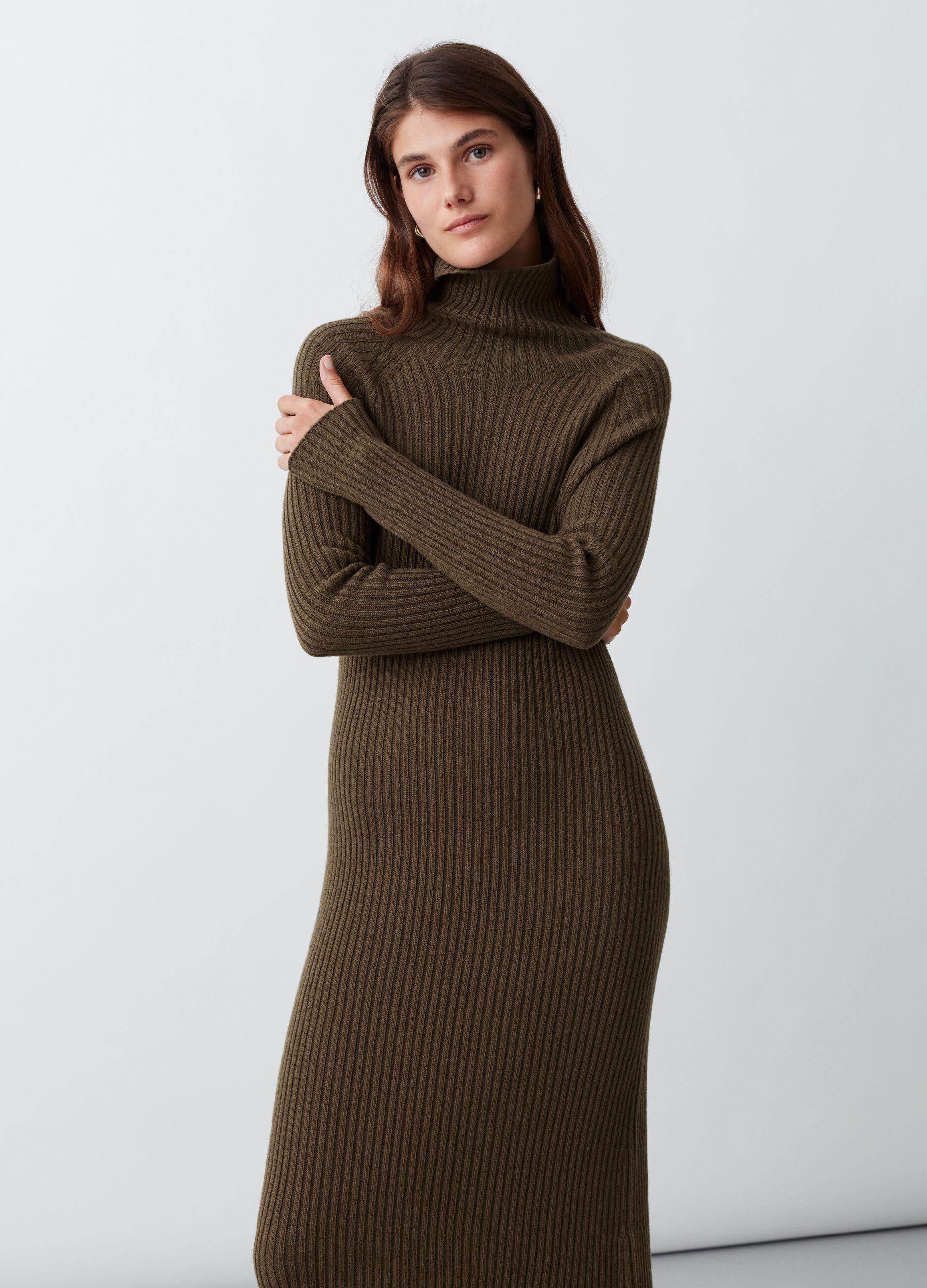 Abito lungo in maglia di lana e cachemire Verde