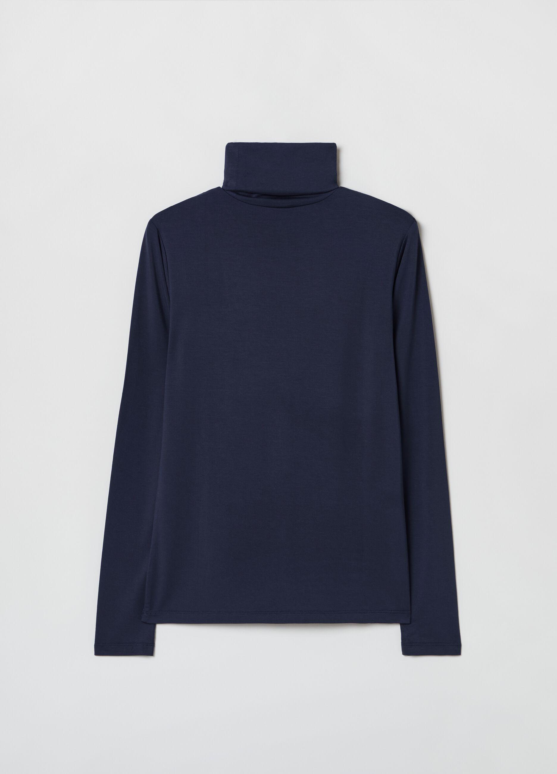 T-shirt collo alto in jersey di modal Blu