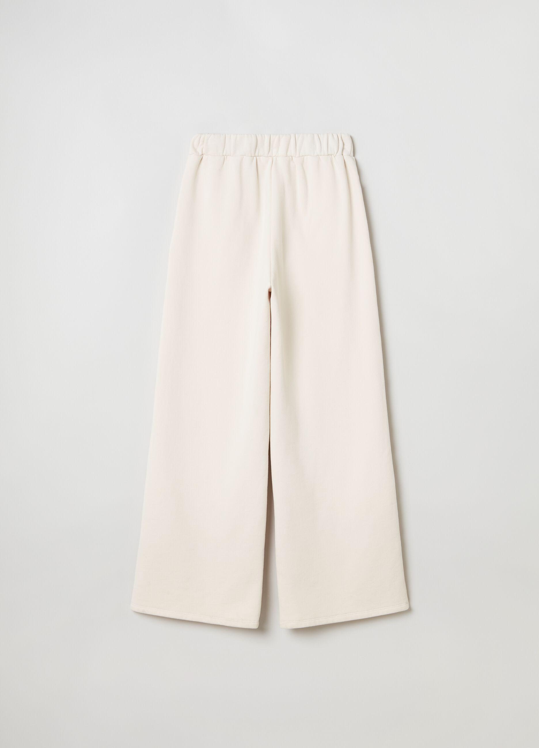 Pantalone wide leg in felpa Beige