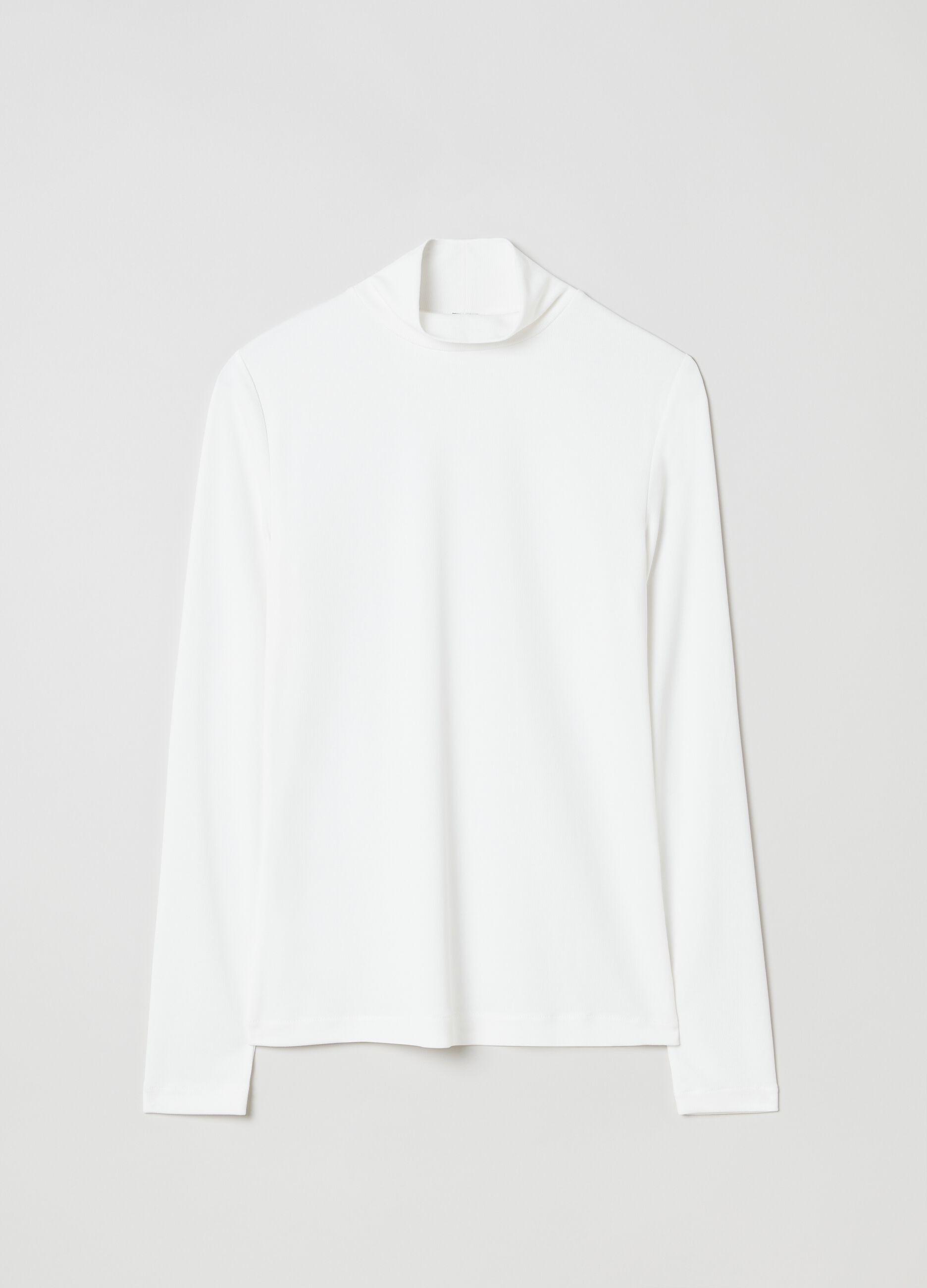 T-shirt collo alto a costina sottile Bianco