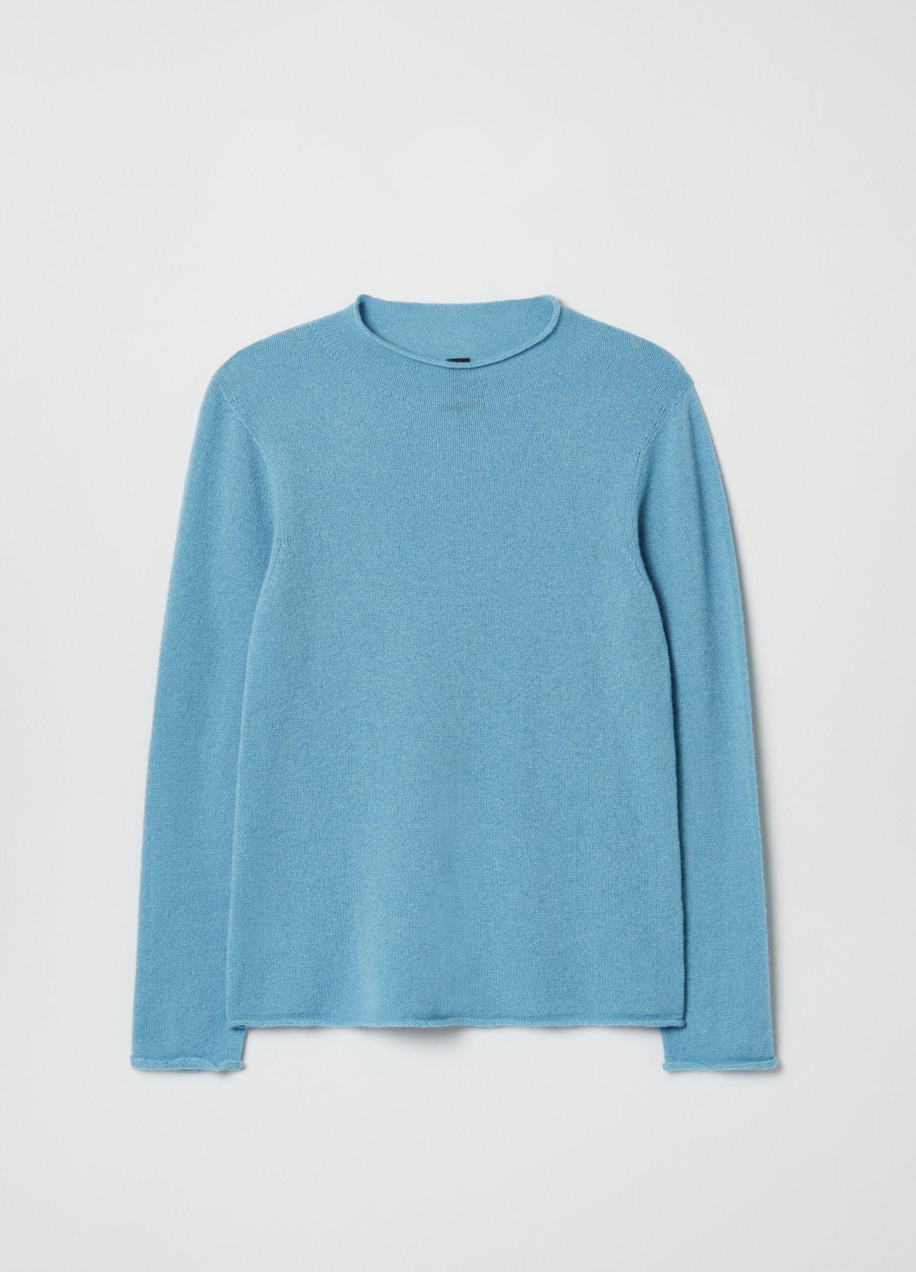 Pullover in puro cachemire seamless Azzurro