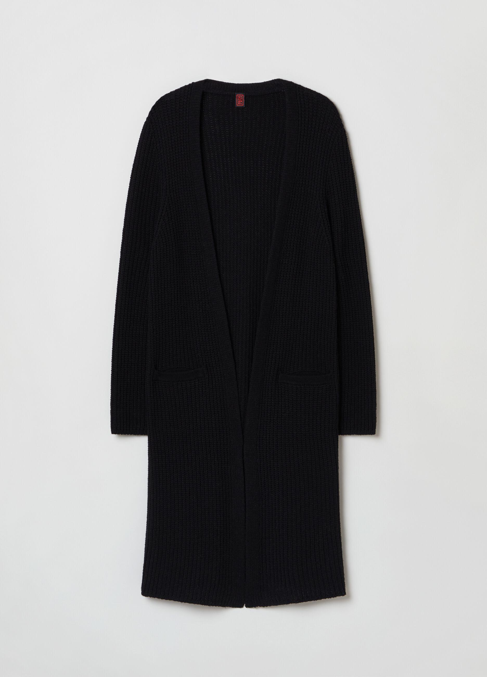 Cardigan extra lungo in lana e cachemire Nero
