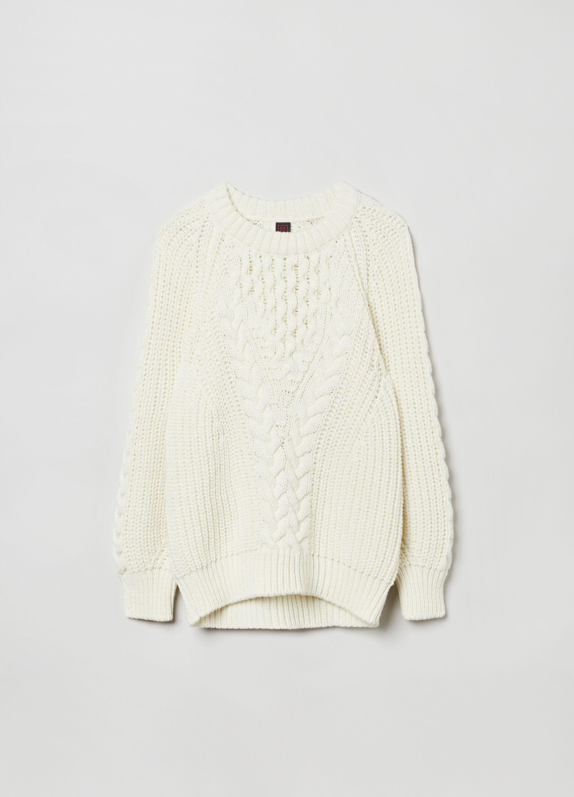 Pullover girocollo con motivo intrecciato Bianco