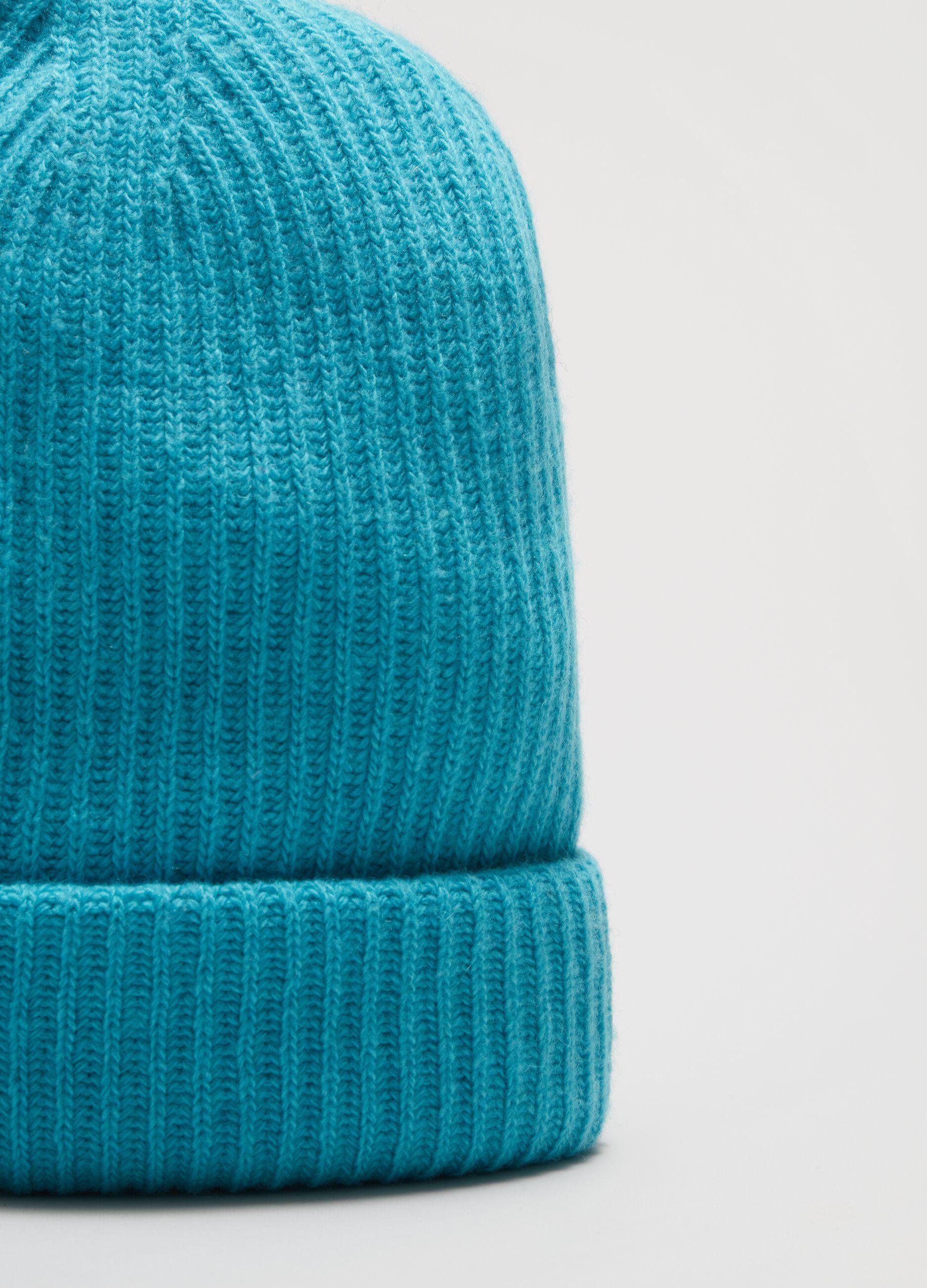 Berretto in lana e cachemire a coste Azzurro