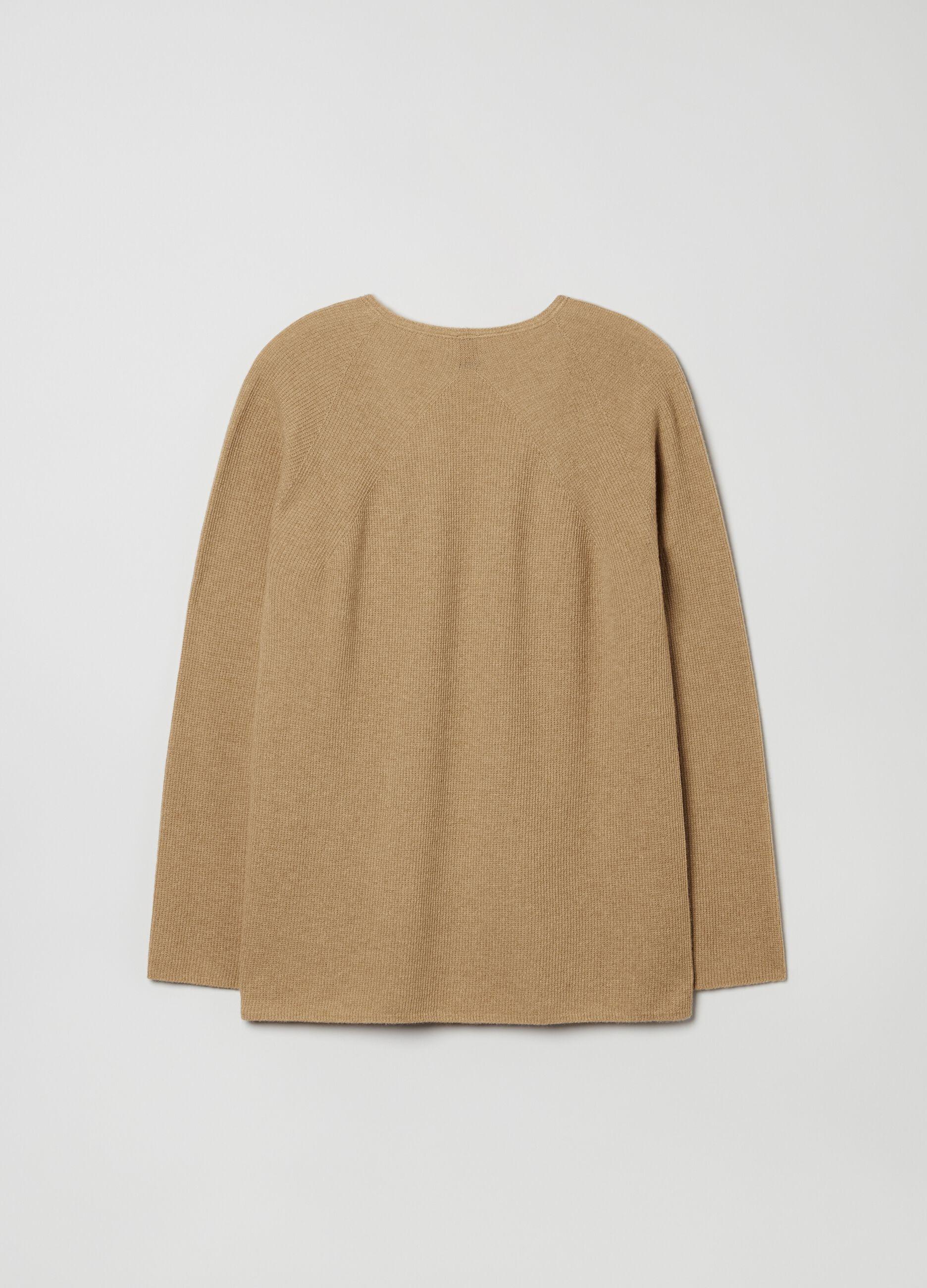 Pullover in pura lana con scollo a V Marrone