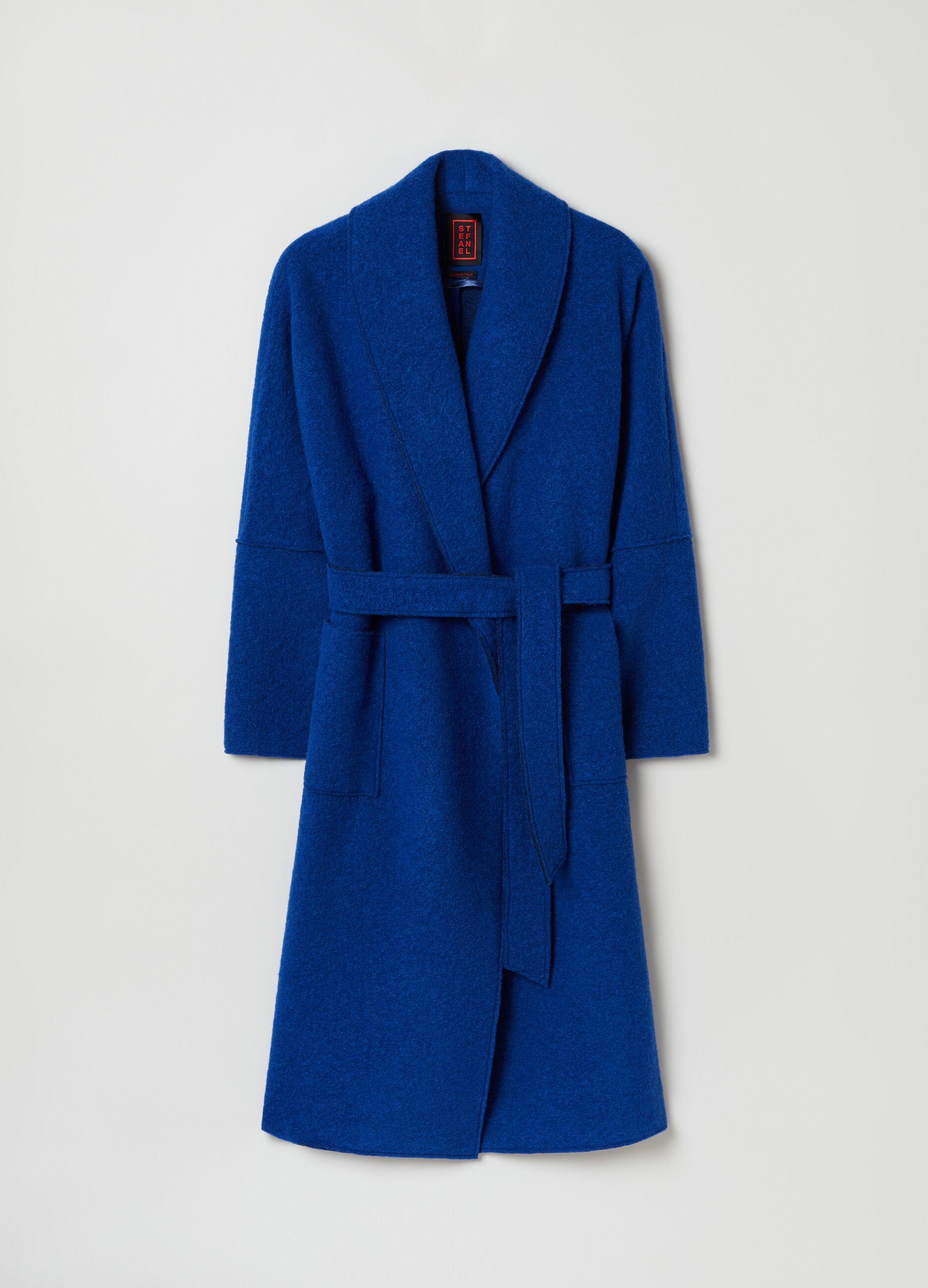 Cappotto a kimono con cintura Blu