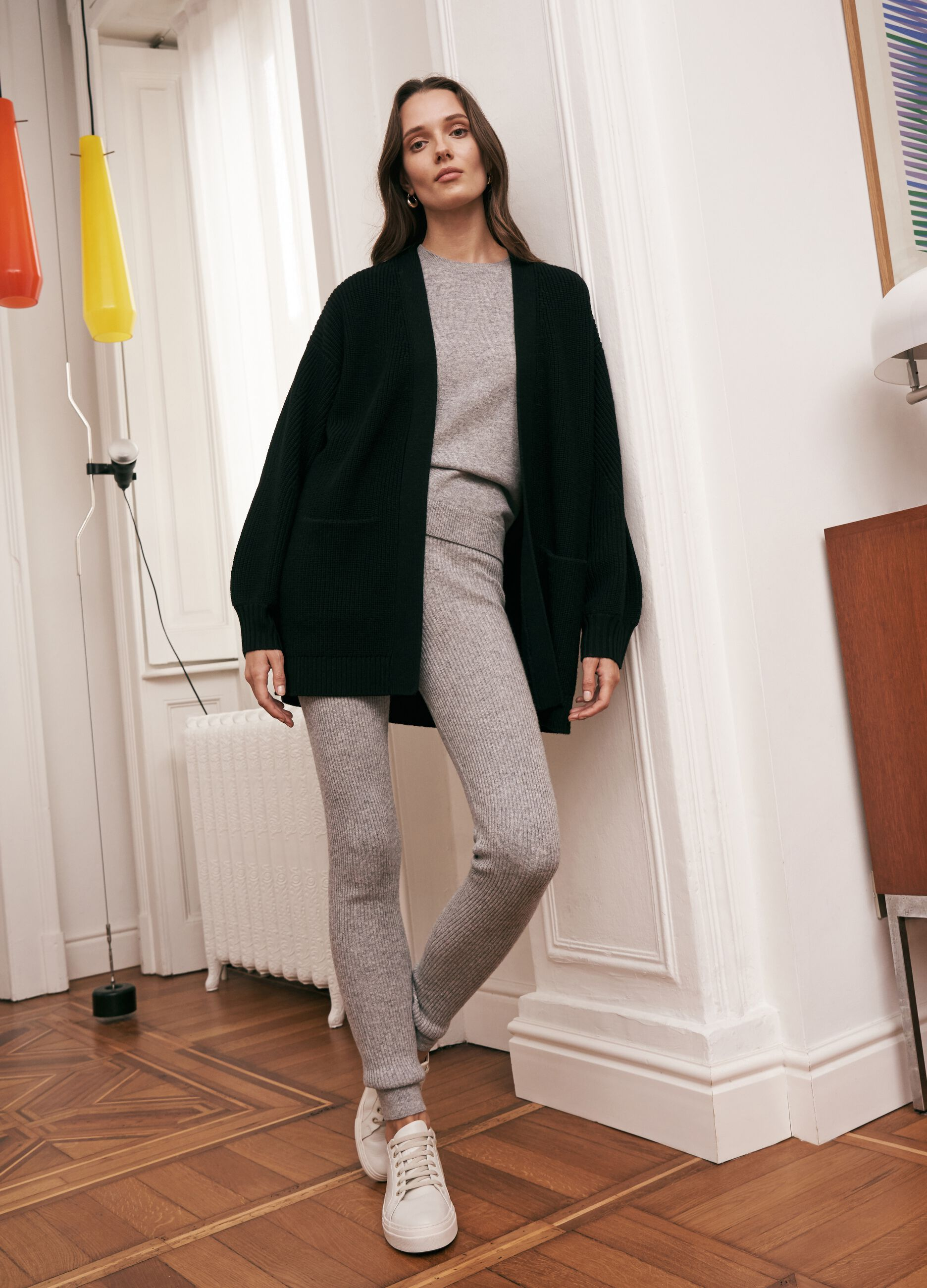 Open cardigan in 100% wool with pockets Black