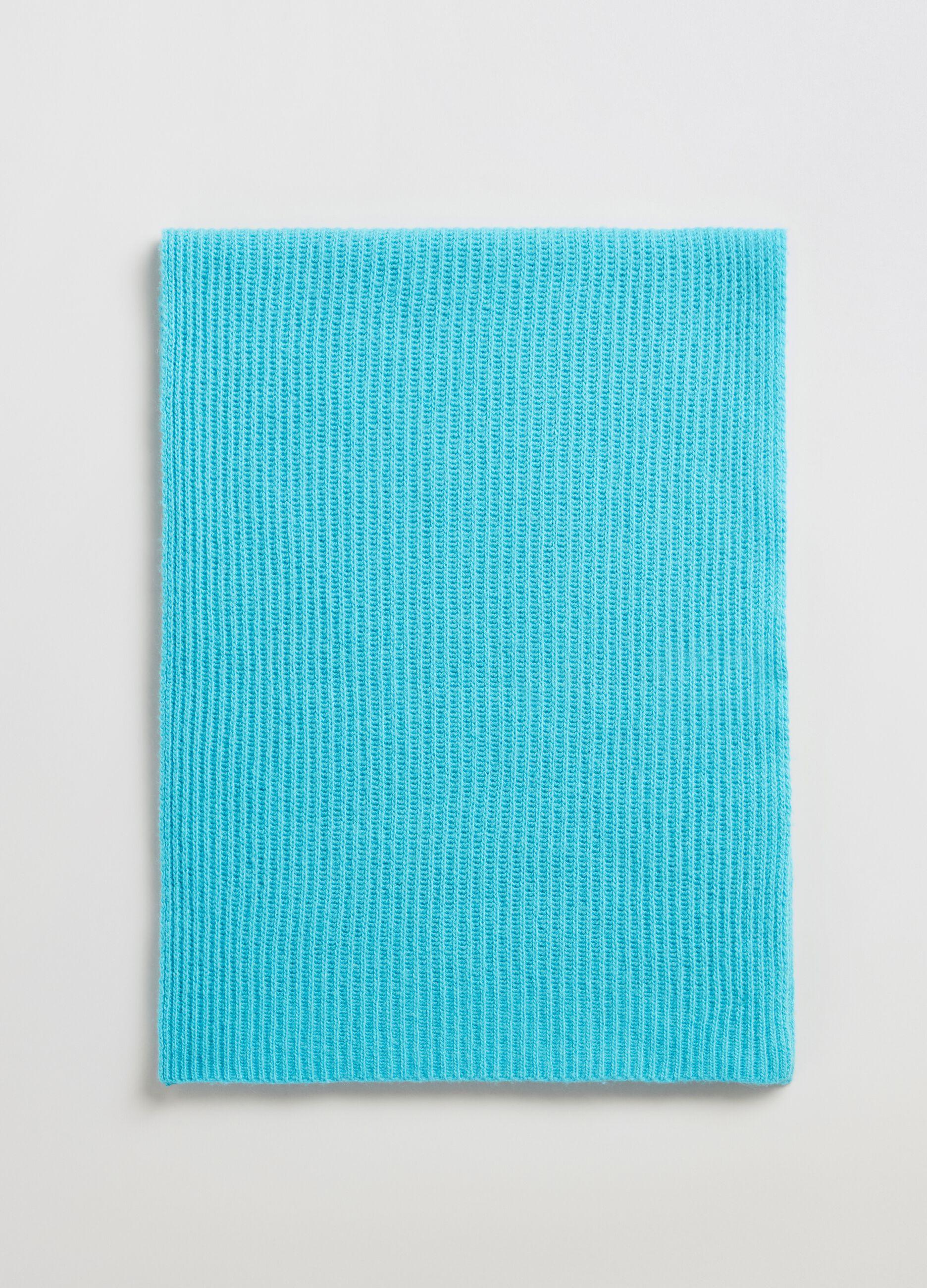 Sciarpa in lana e cachemire a coste Azzurro