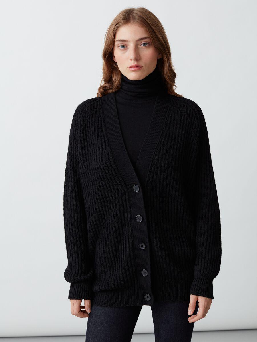 Cardigan in lana e cachemire Nero