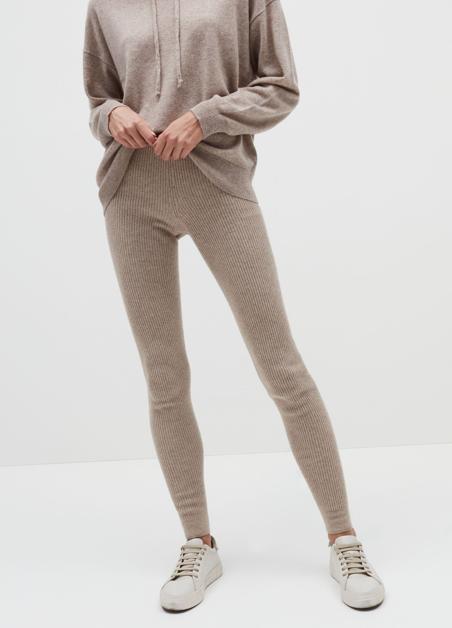 Leggings in maglia a costine Beige