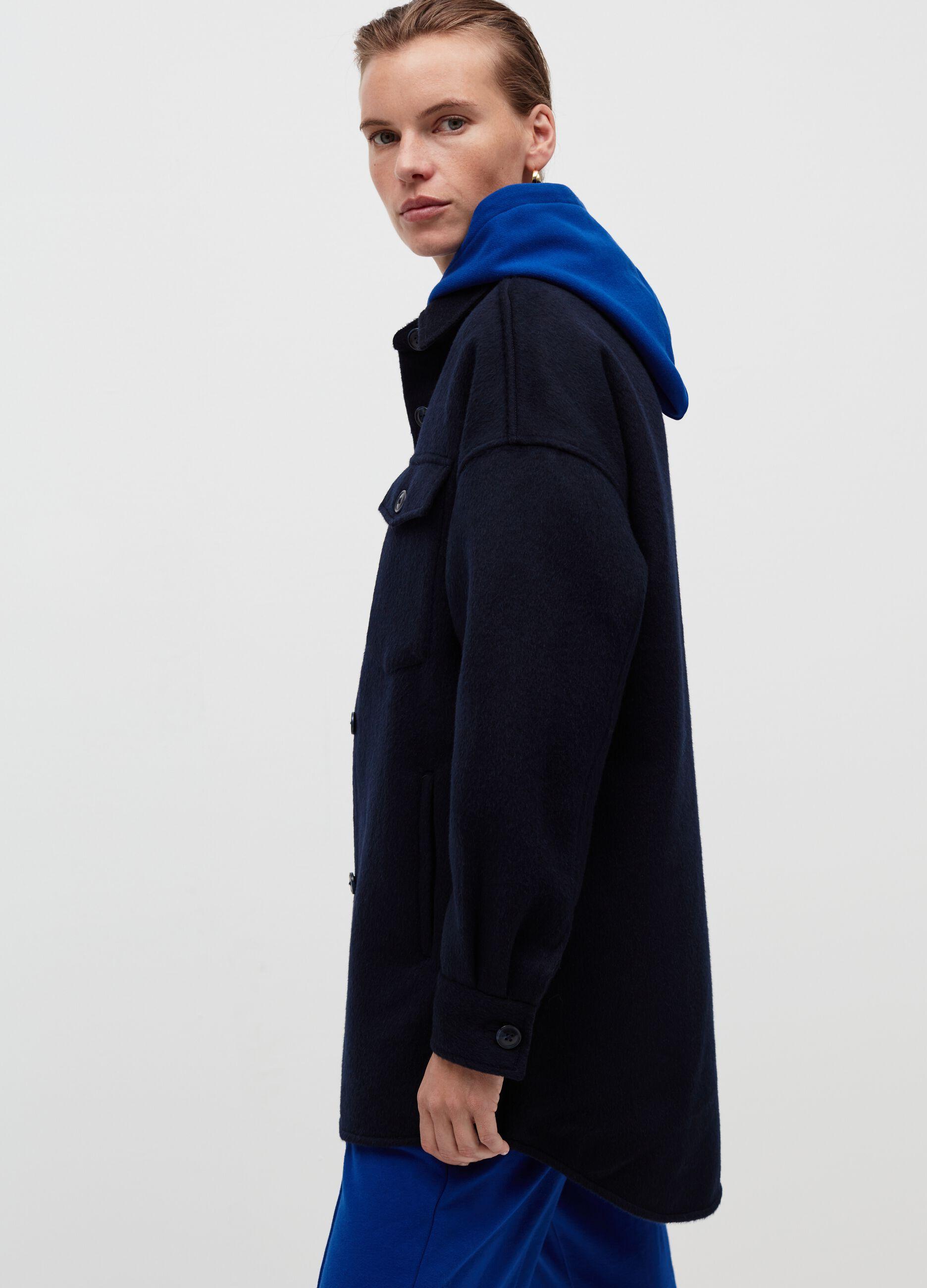 Shacket oversize in panno Blu