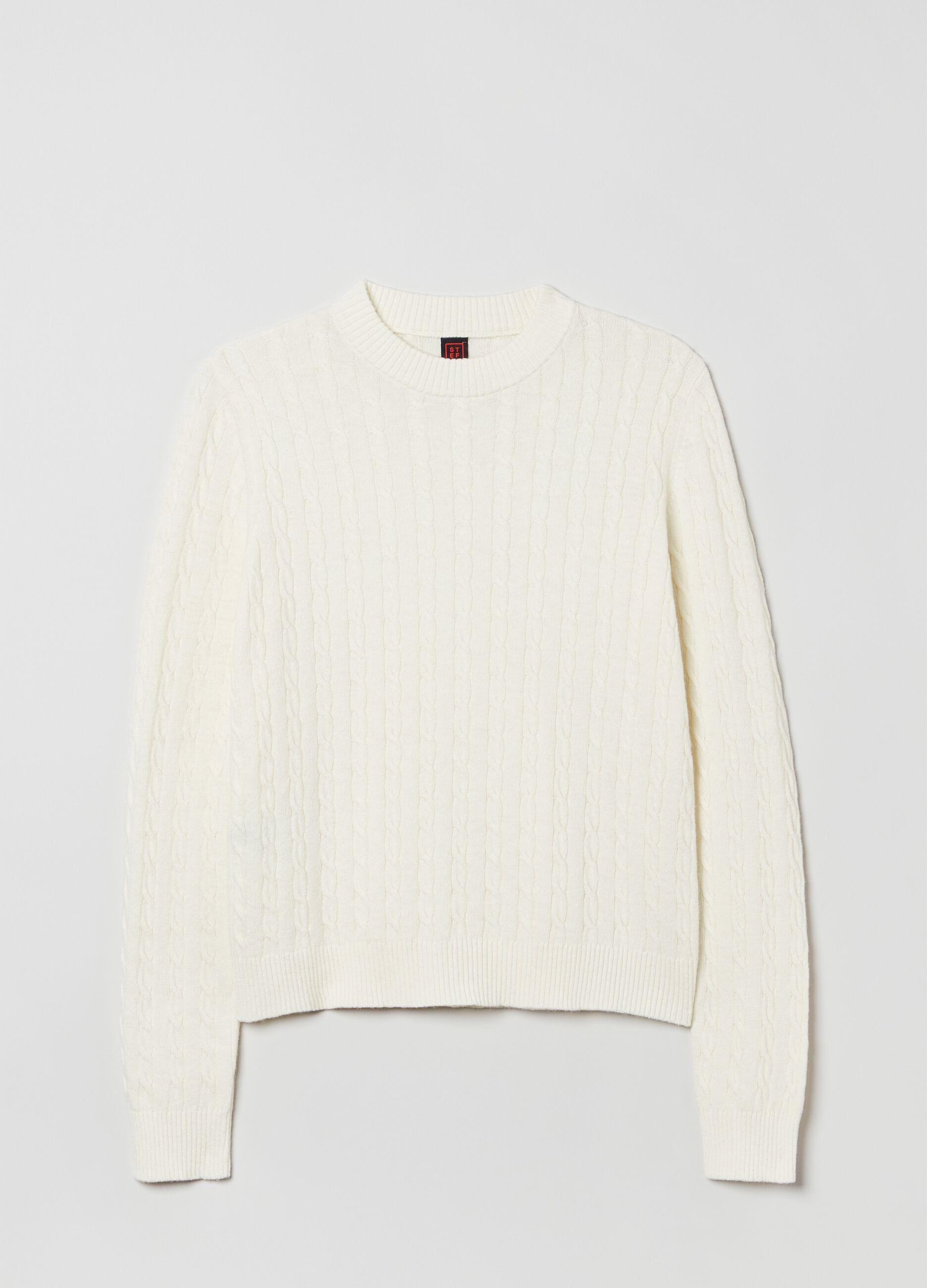 Maglia in lana e cachemire motivo a trecce Bianco