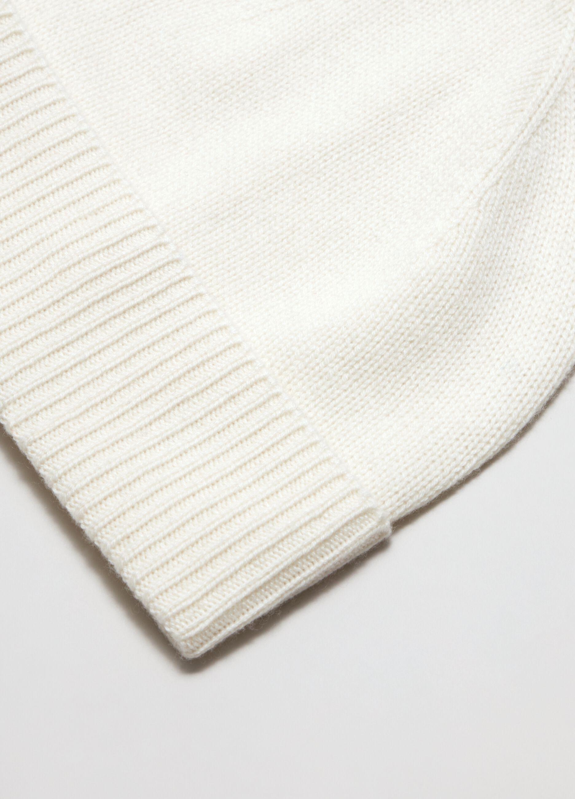 Berretto in cachemire con risvolto Bianco