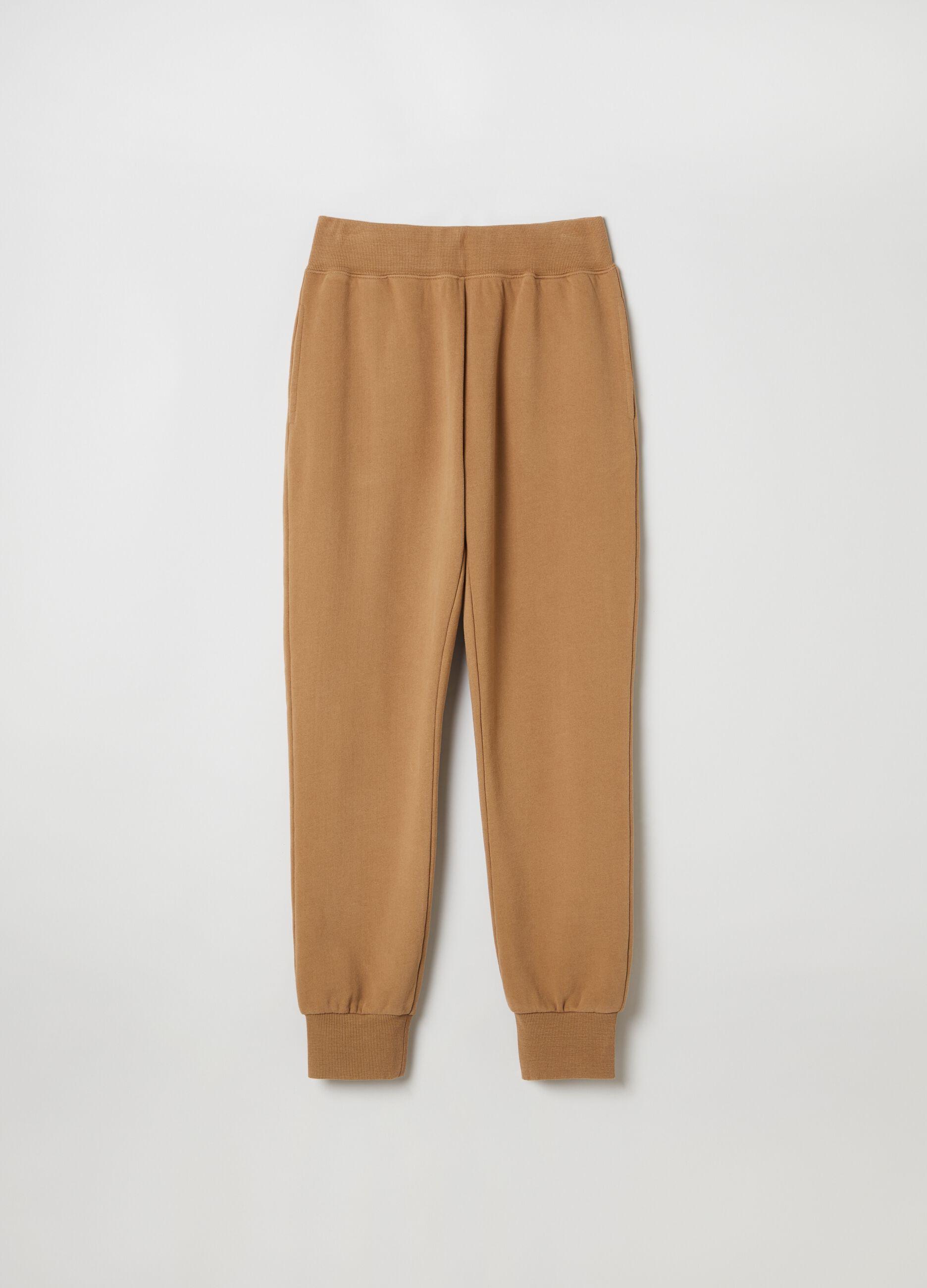 Pantalone jogging in felpa slim fit Marrone