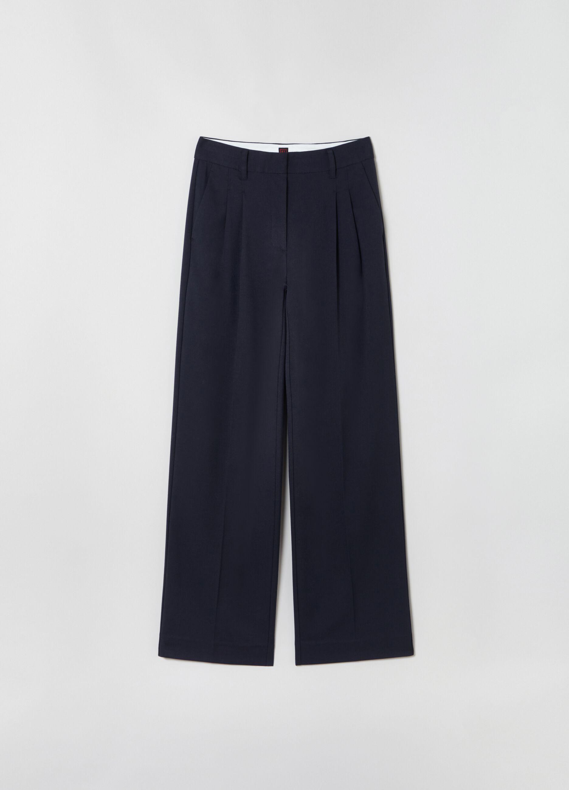 Pantalone wide leg con pinces Blu