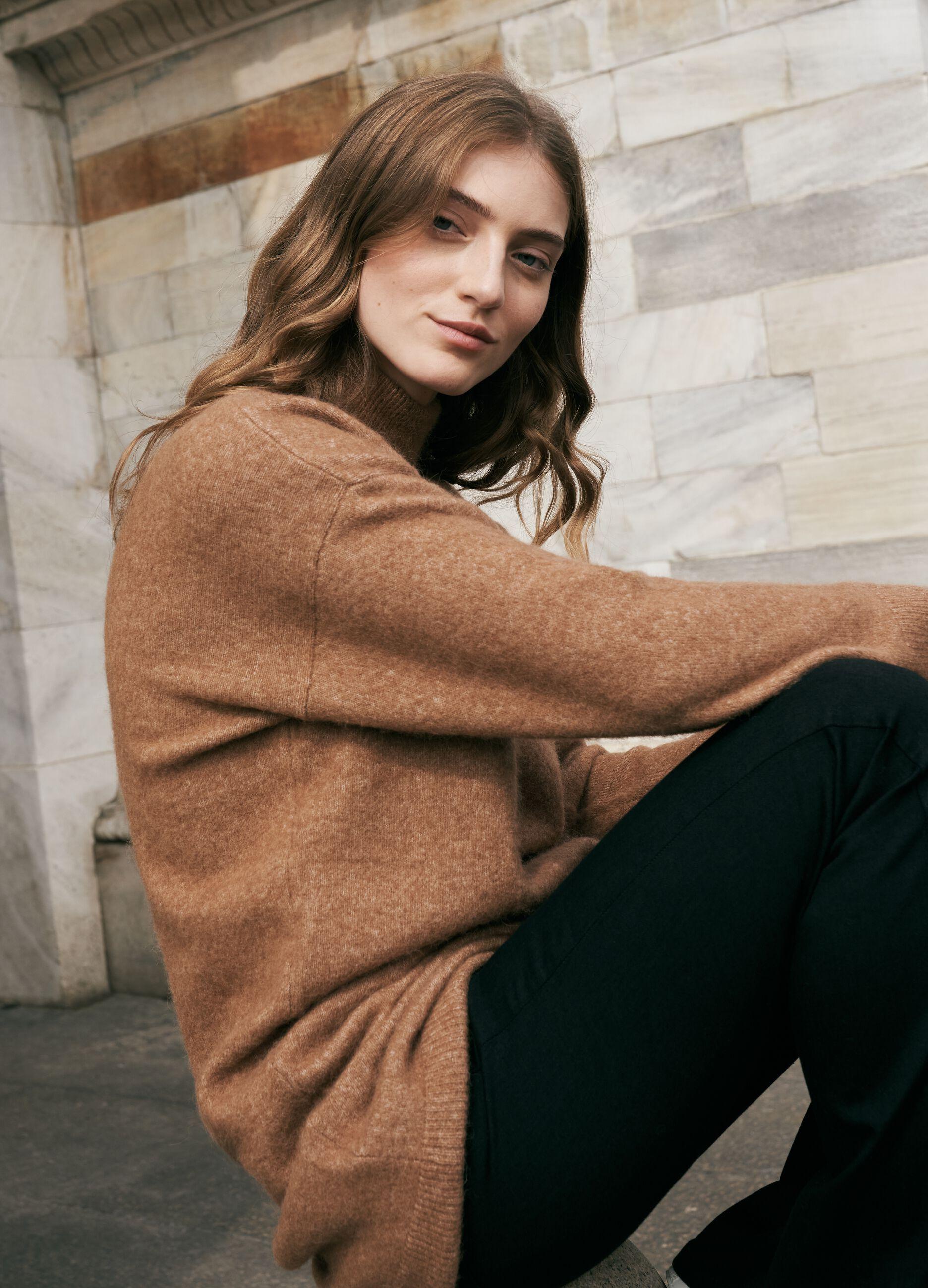 Maxi maglia in lana merino e alpaca Marrone