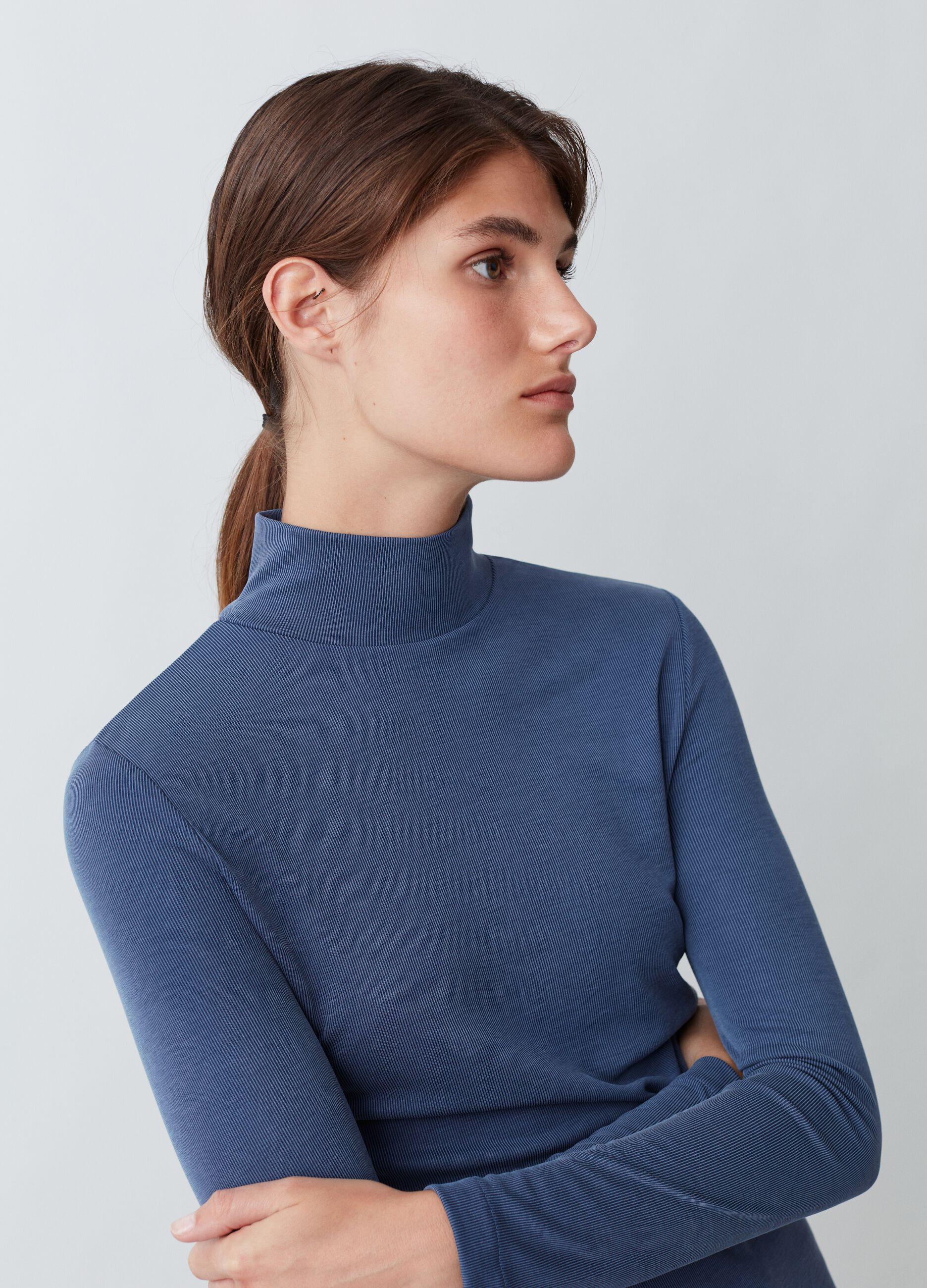 T-shirt collo alto a costina sottile Blu