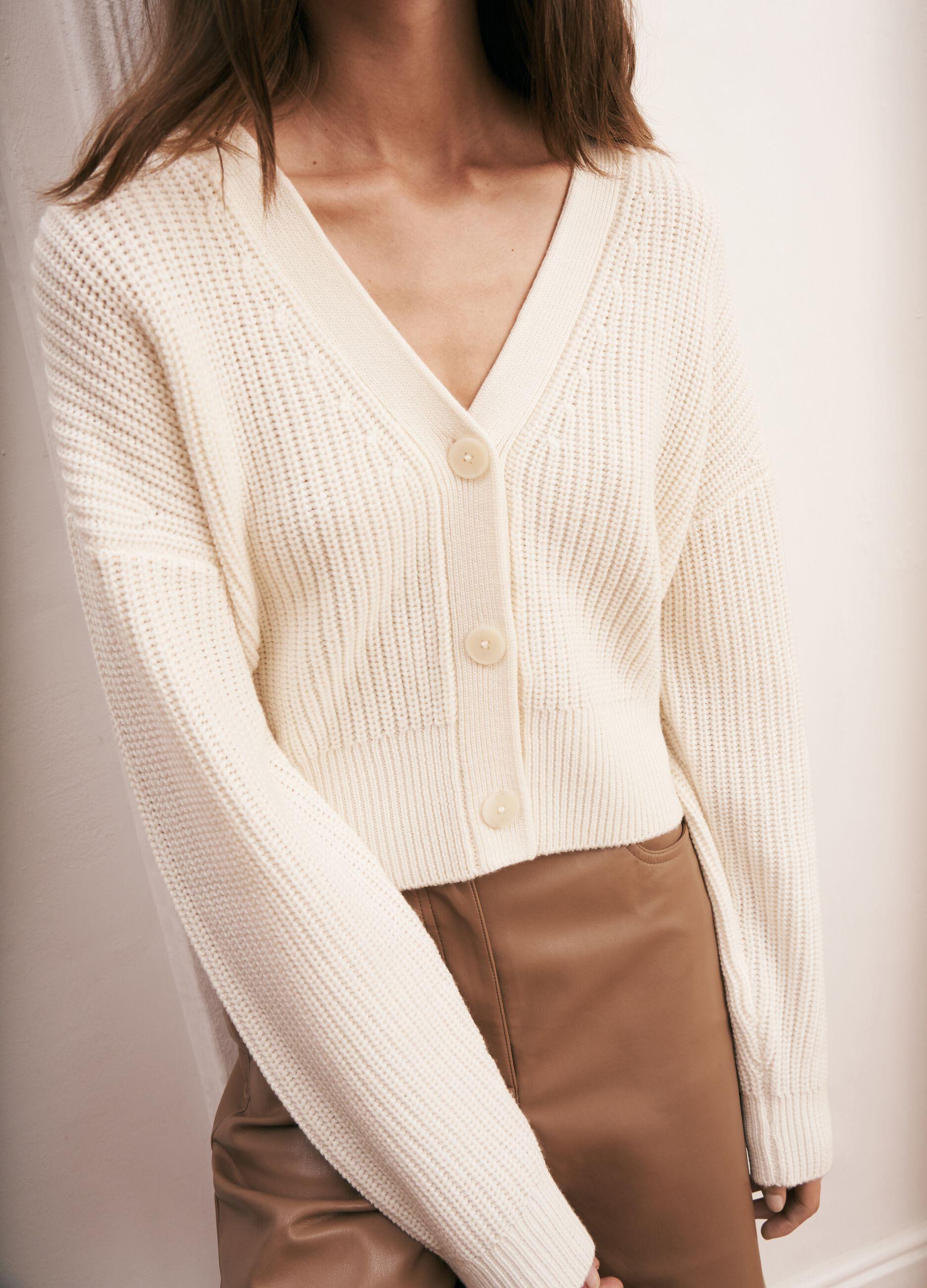 Cardigan in pura lana a coste Bianco