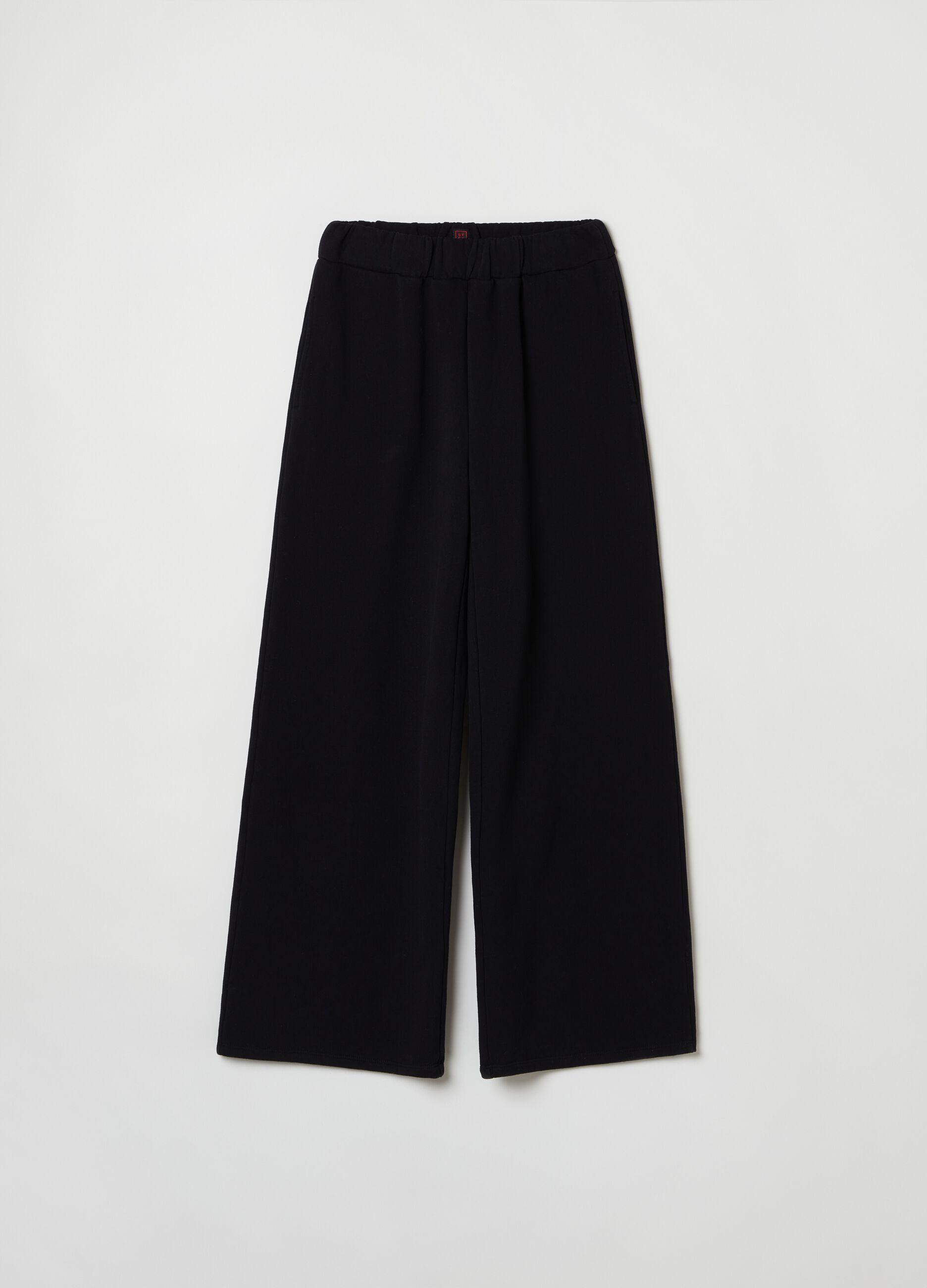 Pantalone wide leg in felpa Nero