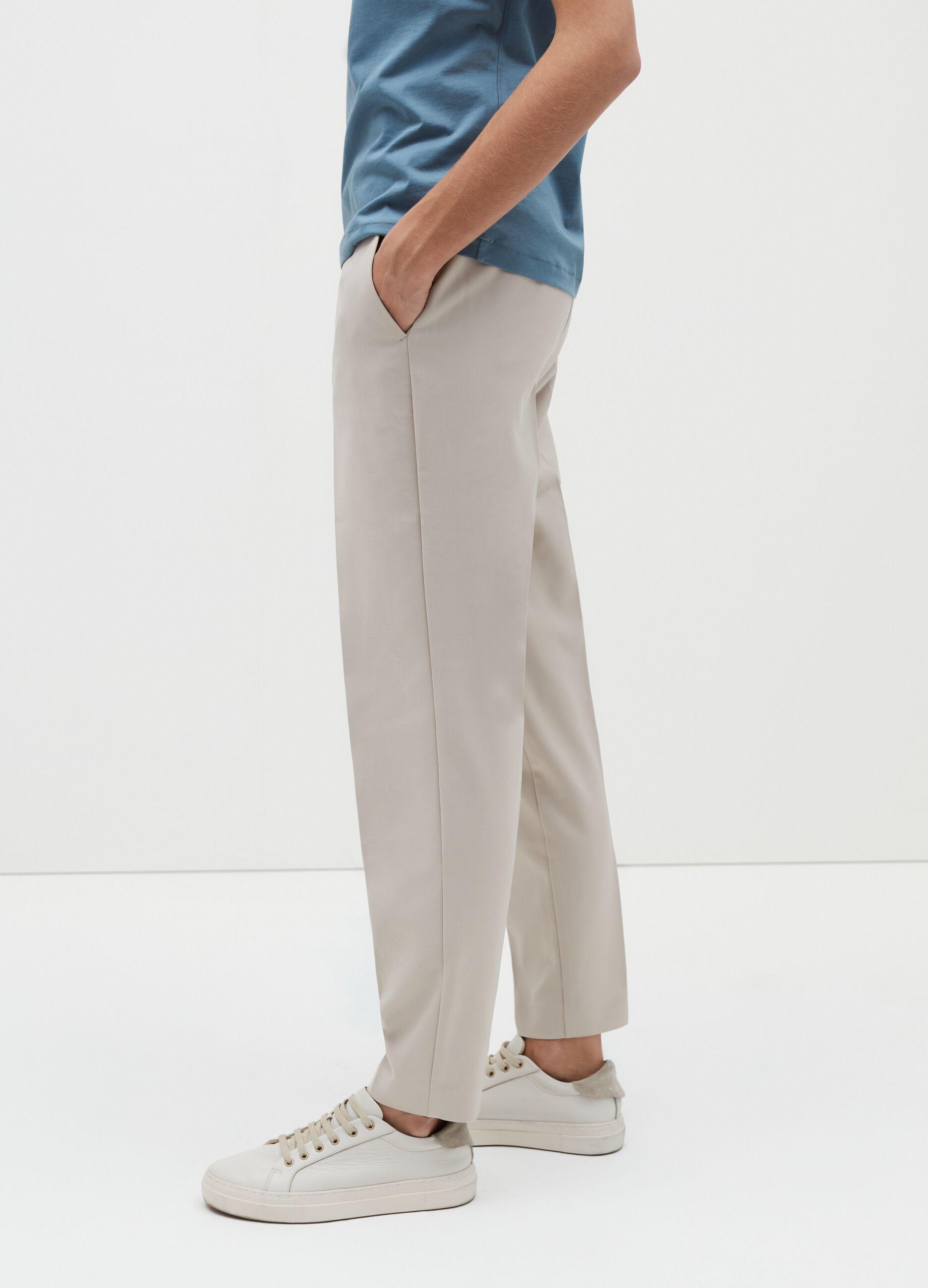 Pantalone in tessuto strutturato Beige