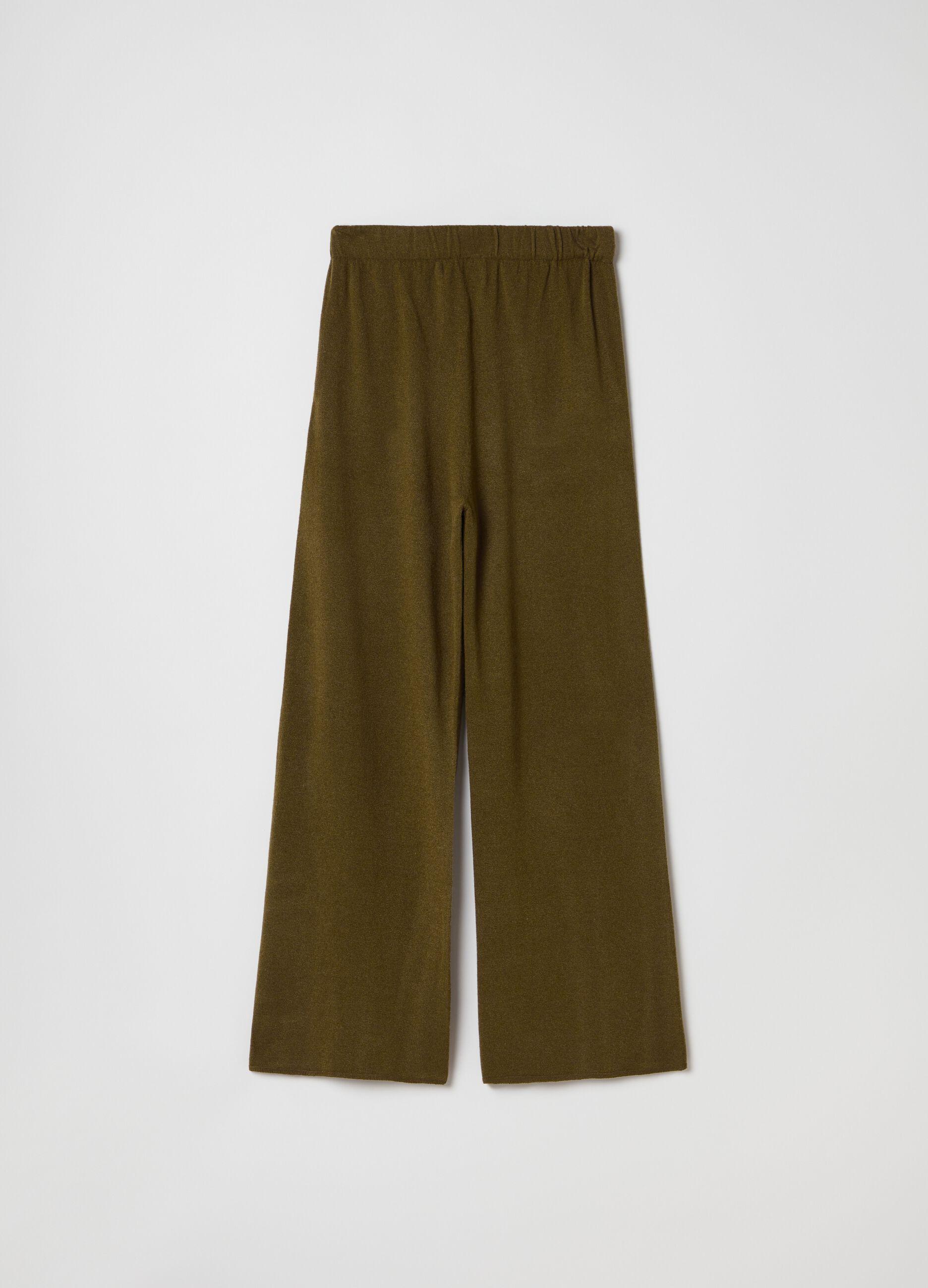 Pantalone in maglia di lana e cachemire Verde