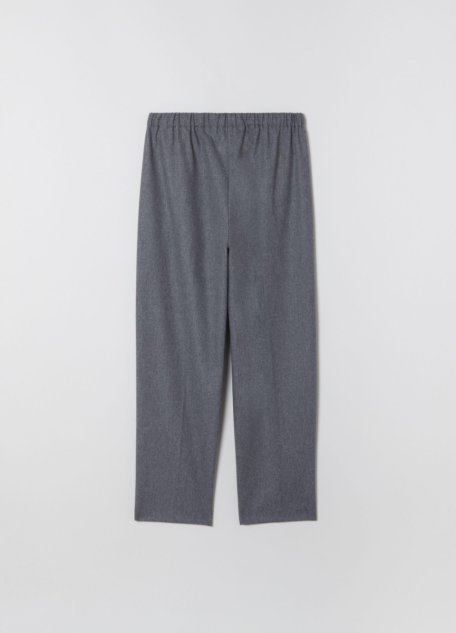 Pantalone straight fit con coulisse Grigio