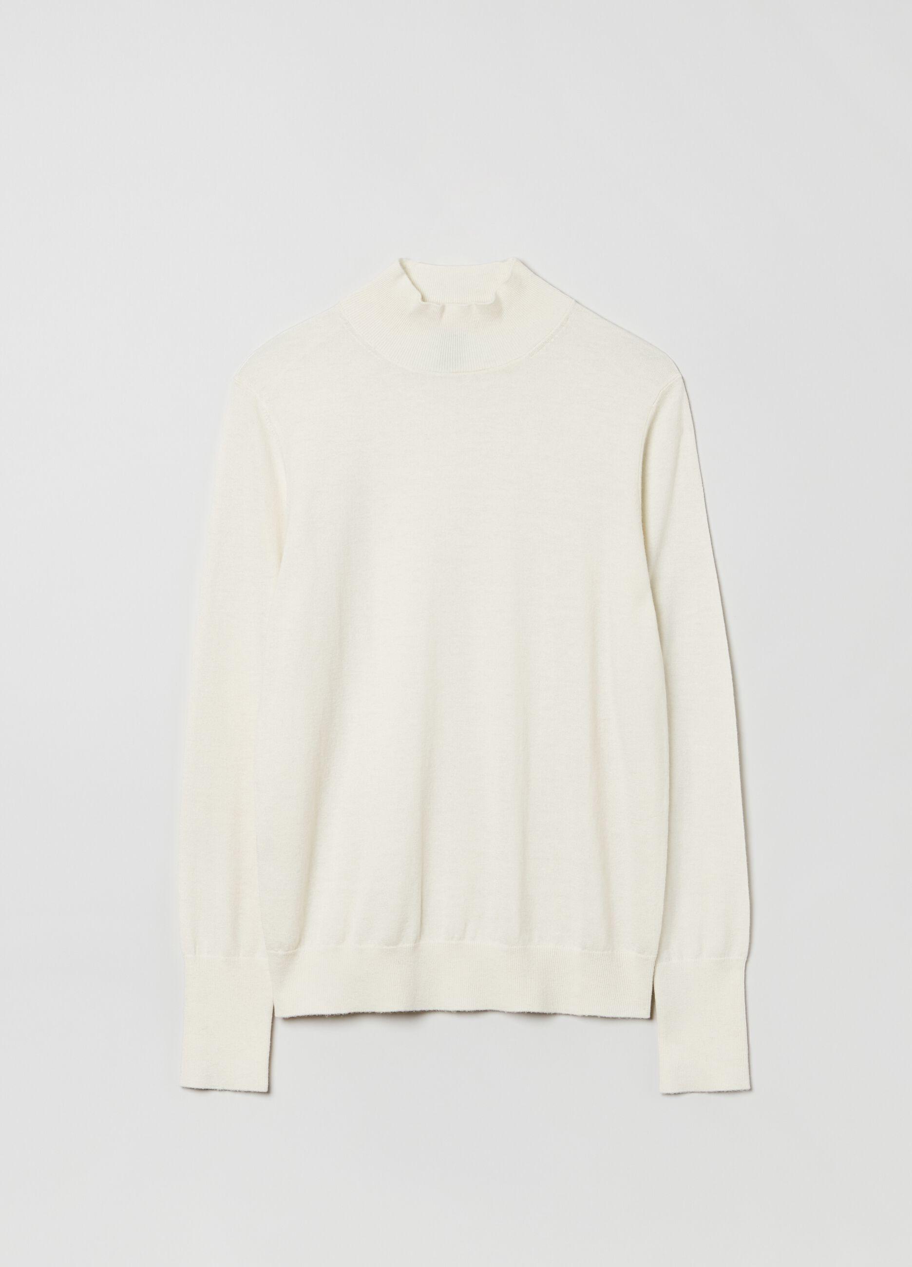 Pullover a collo alto in lana e seta Bianco