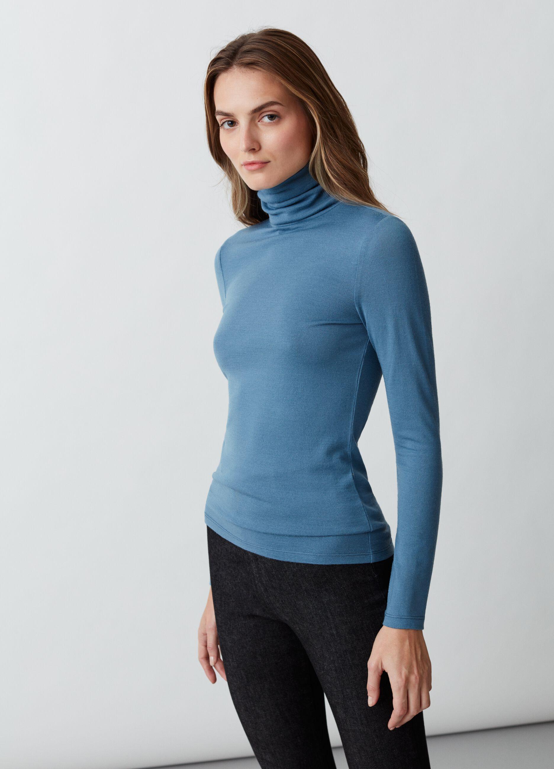 T-shirt a collo alto in pura lana Blu