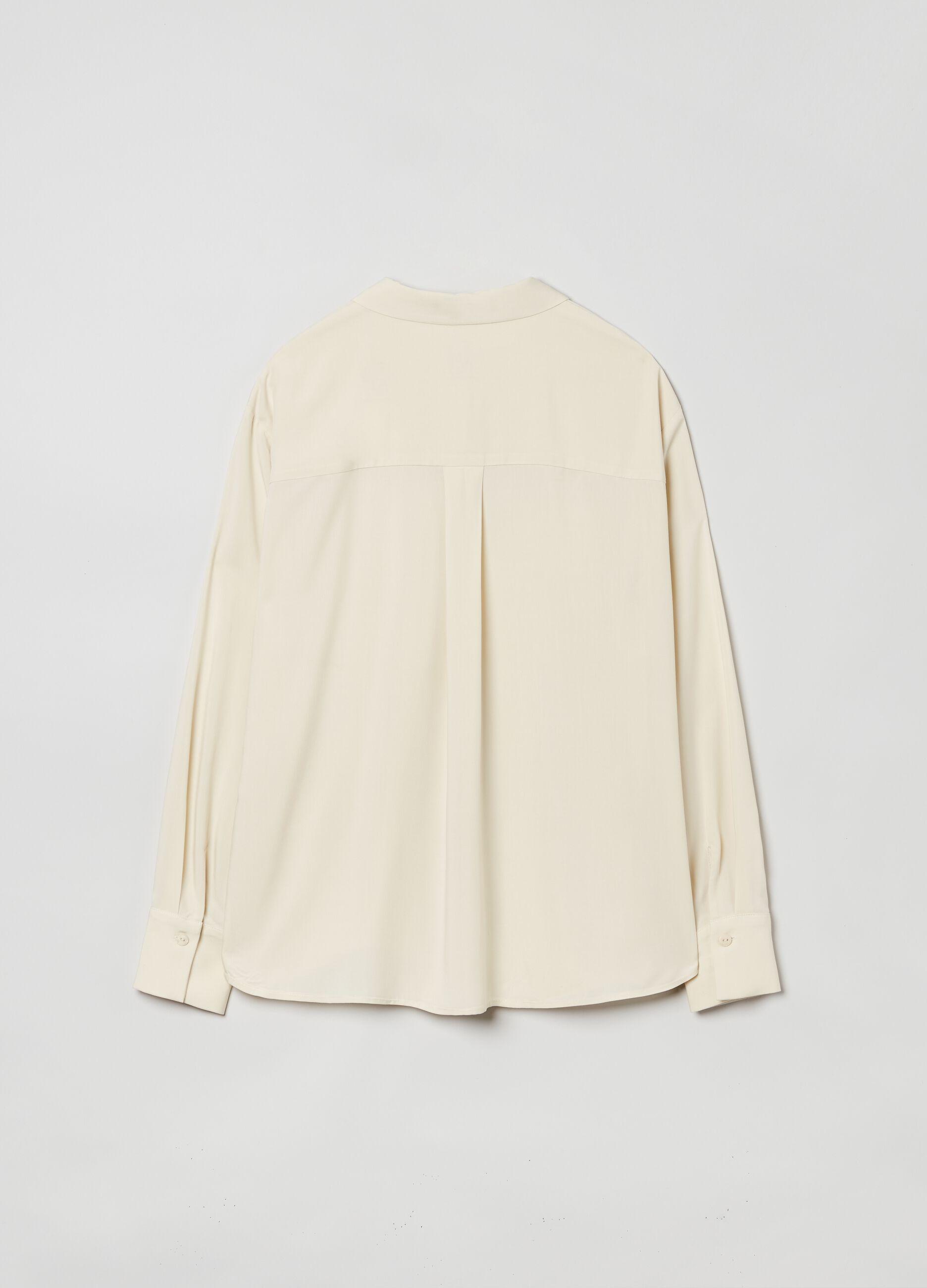 Camicia in viscosa con tasche Beige