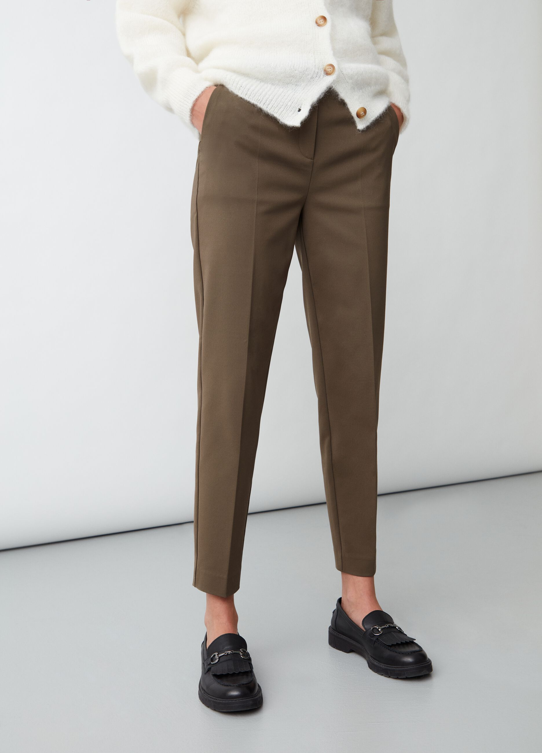 Trousers in textured fabric Green