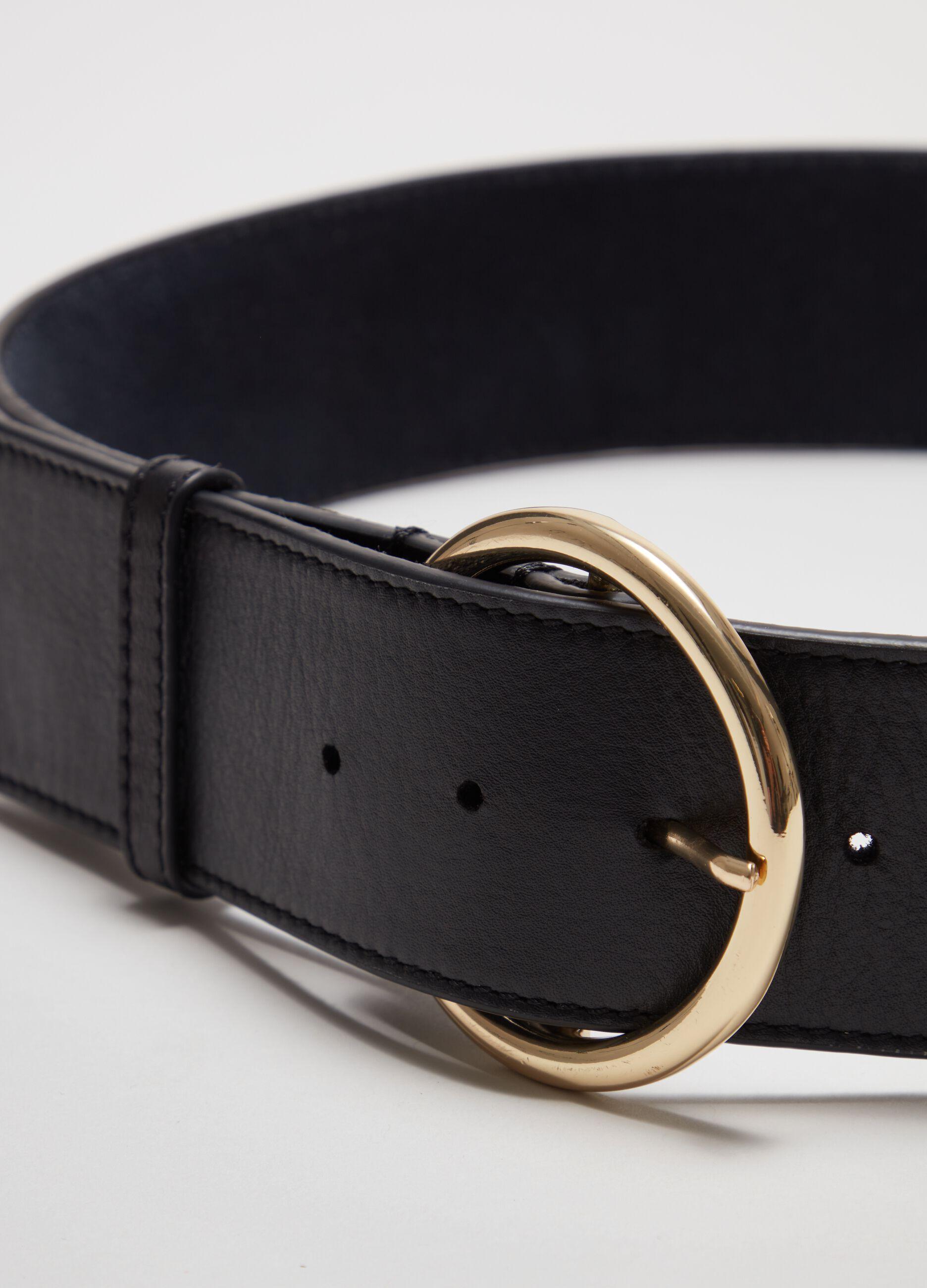 Cintura alta in pelle con fibbia tonda Nero