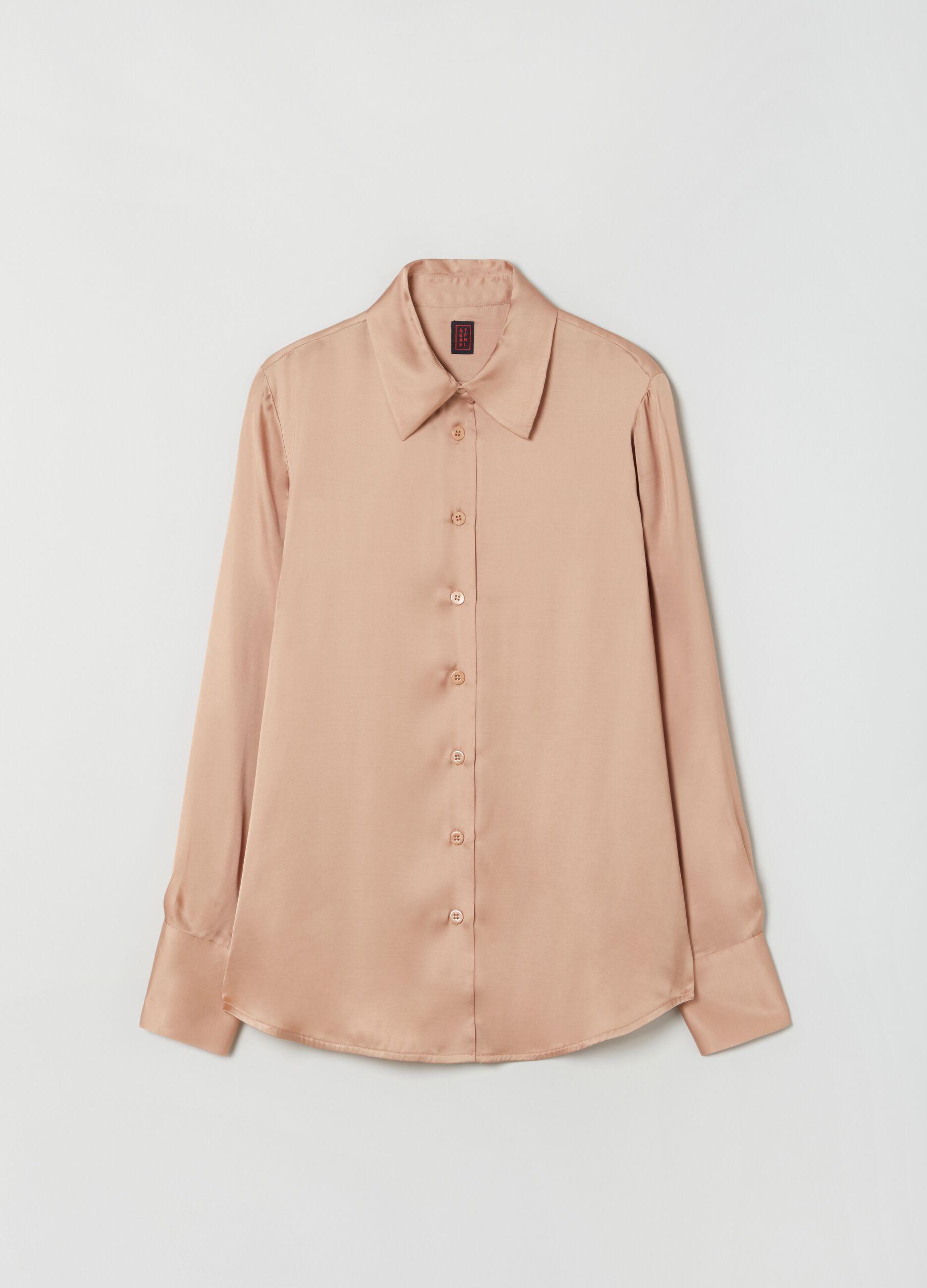 Camicia in raso di viscosa Beige