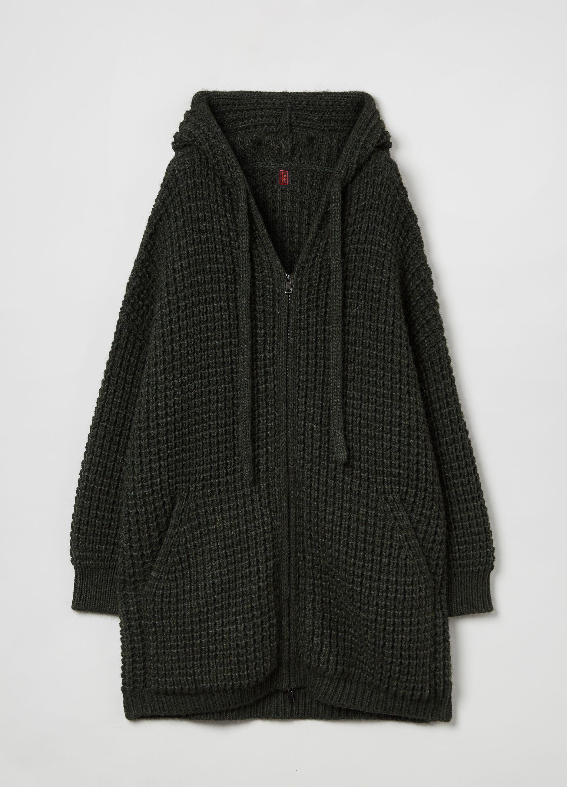 Coatigan full-zip con cappuccio Verde