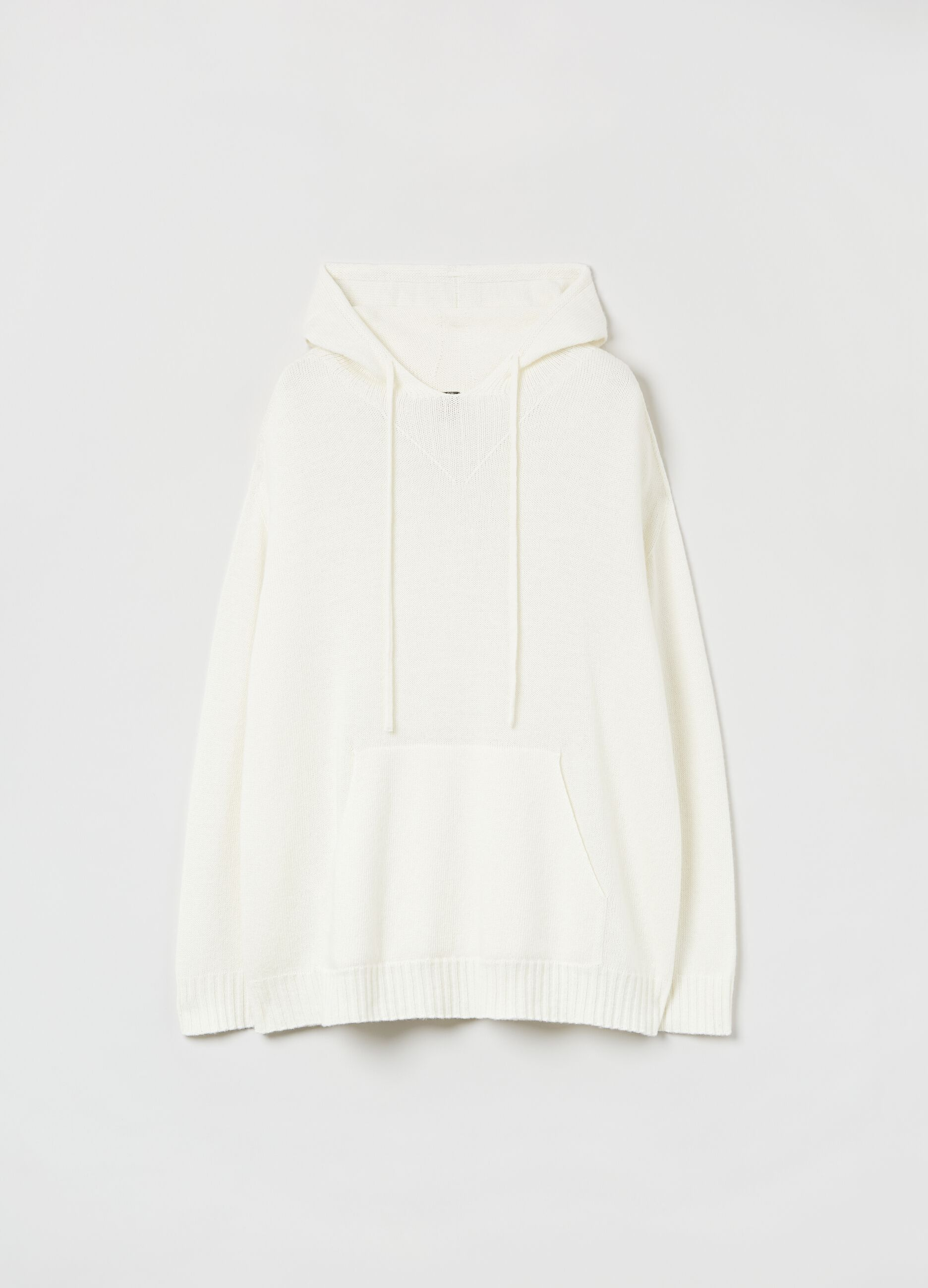 Pullover lana e cachemire con cappuccio Bianco