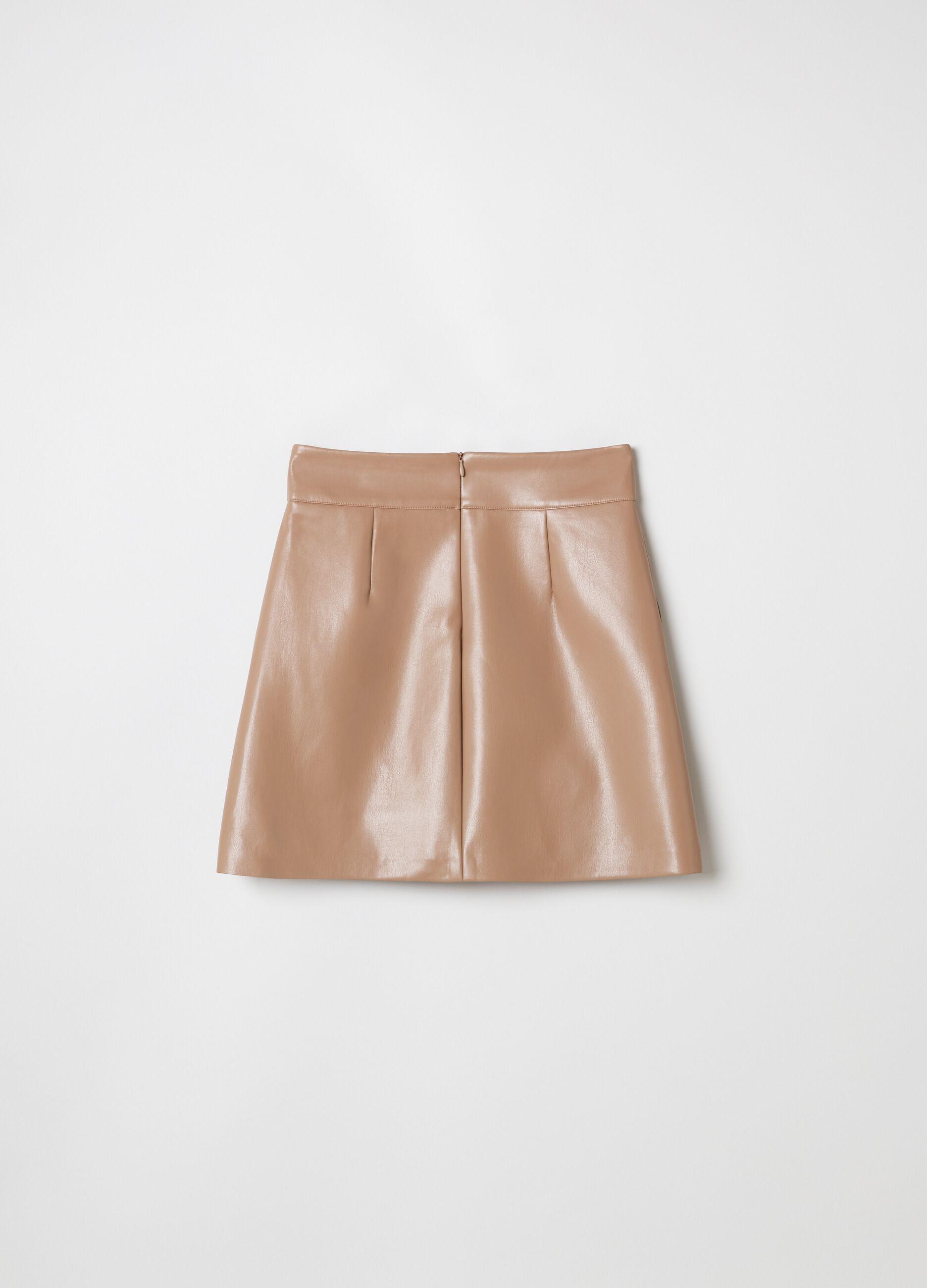 Minigonna basic con tasche verticali Marrone