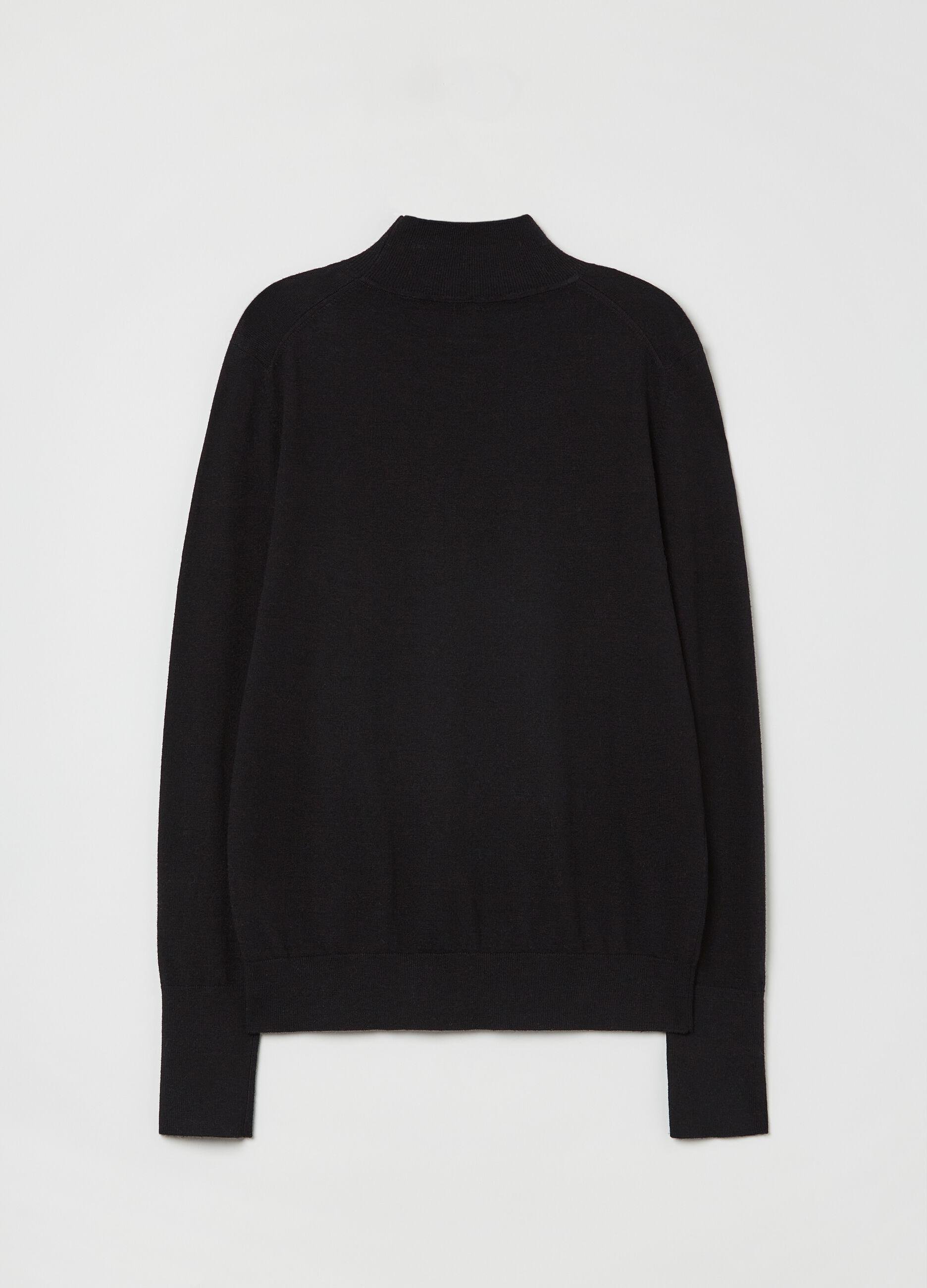 Pullover a collo alto in lana e seta Nero