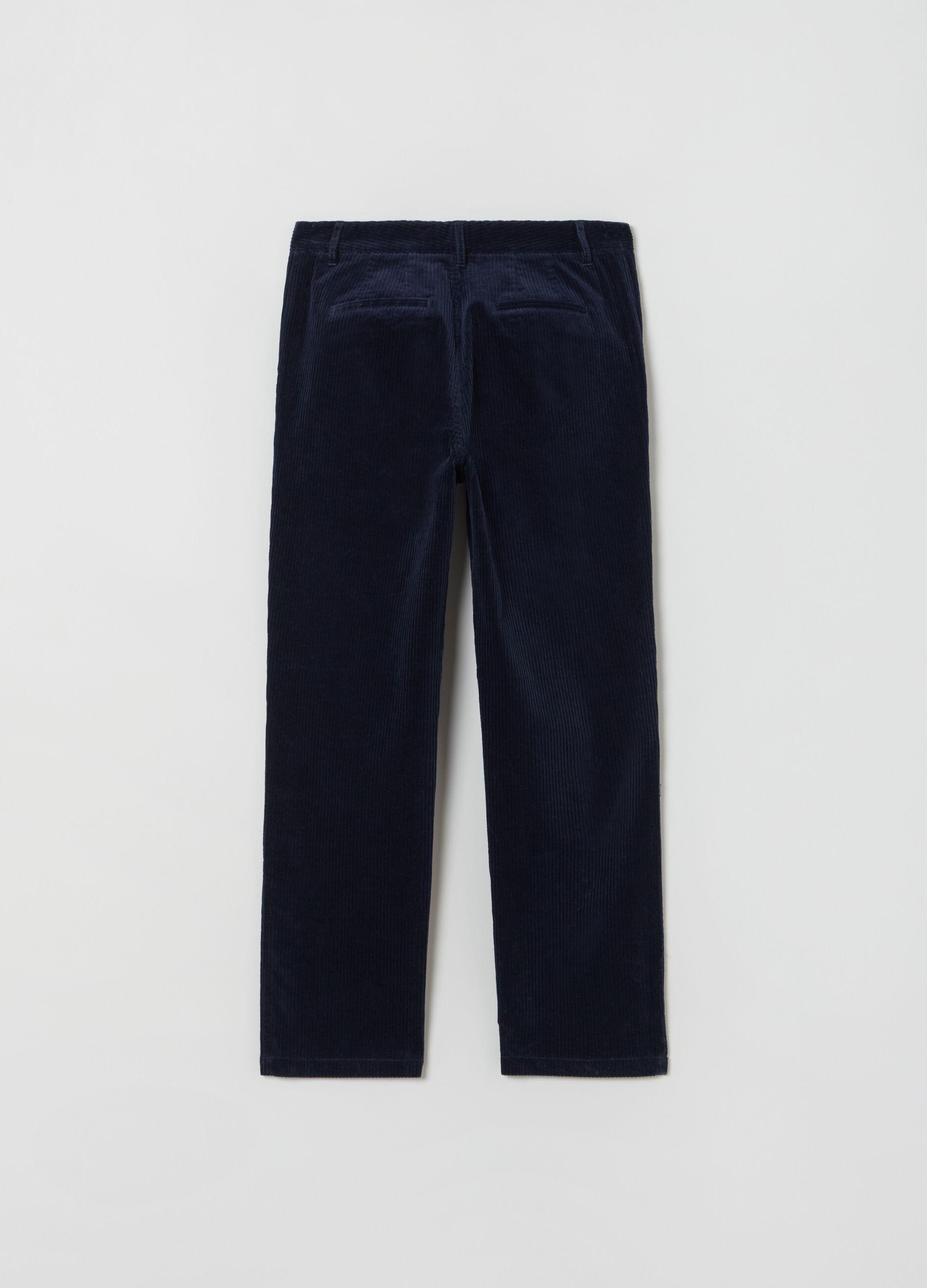 Pantalone chino in corduroy Blu