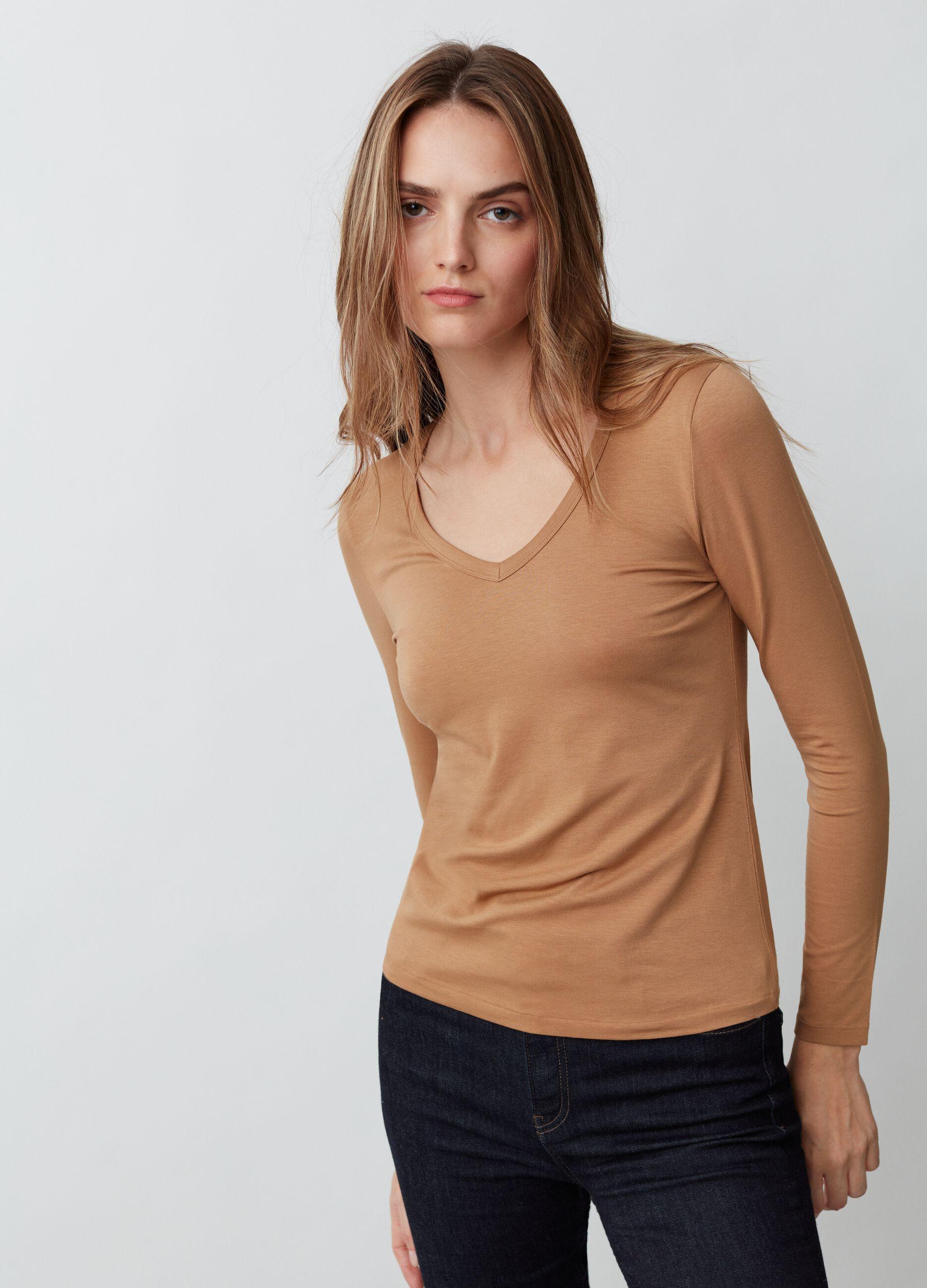 T-shirt in cotone Supima stretch Beige