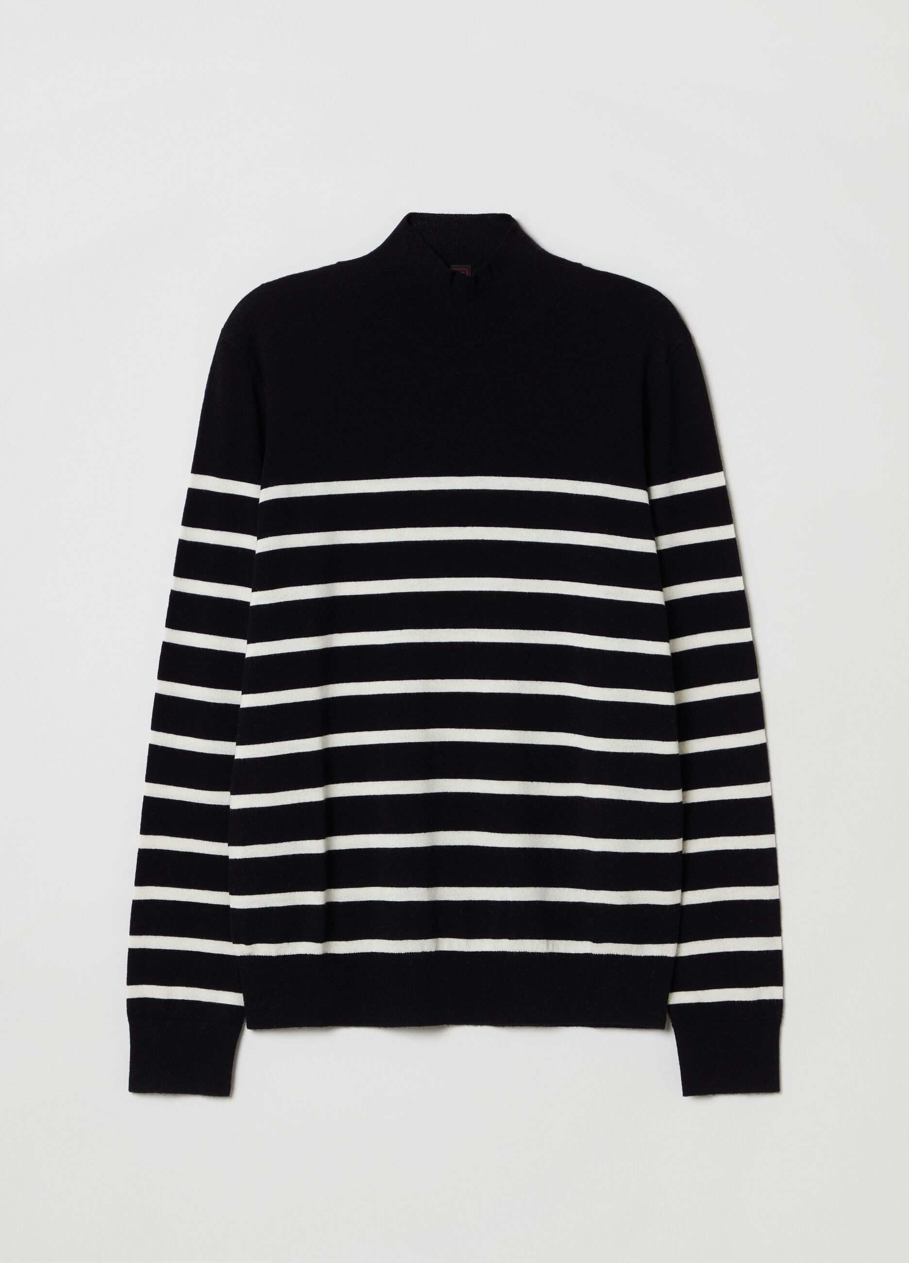 High-neck pullover in wool and silk with striped pattern Multicolor