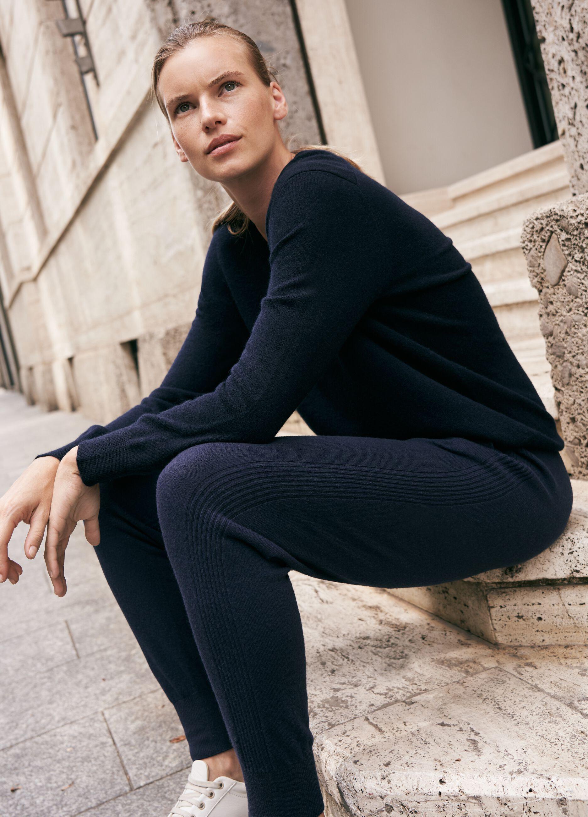 Joggers in maglia di lana e cachemire Blu
