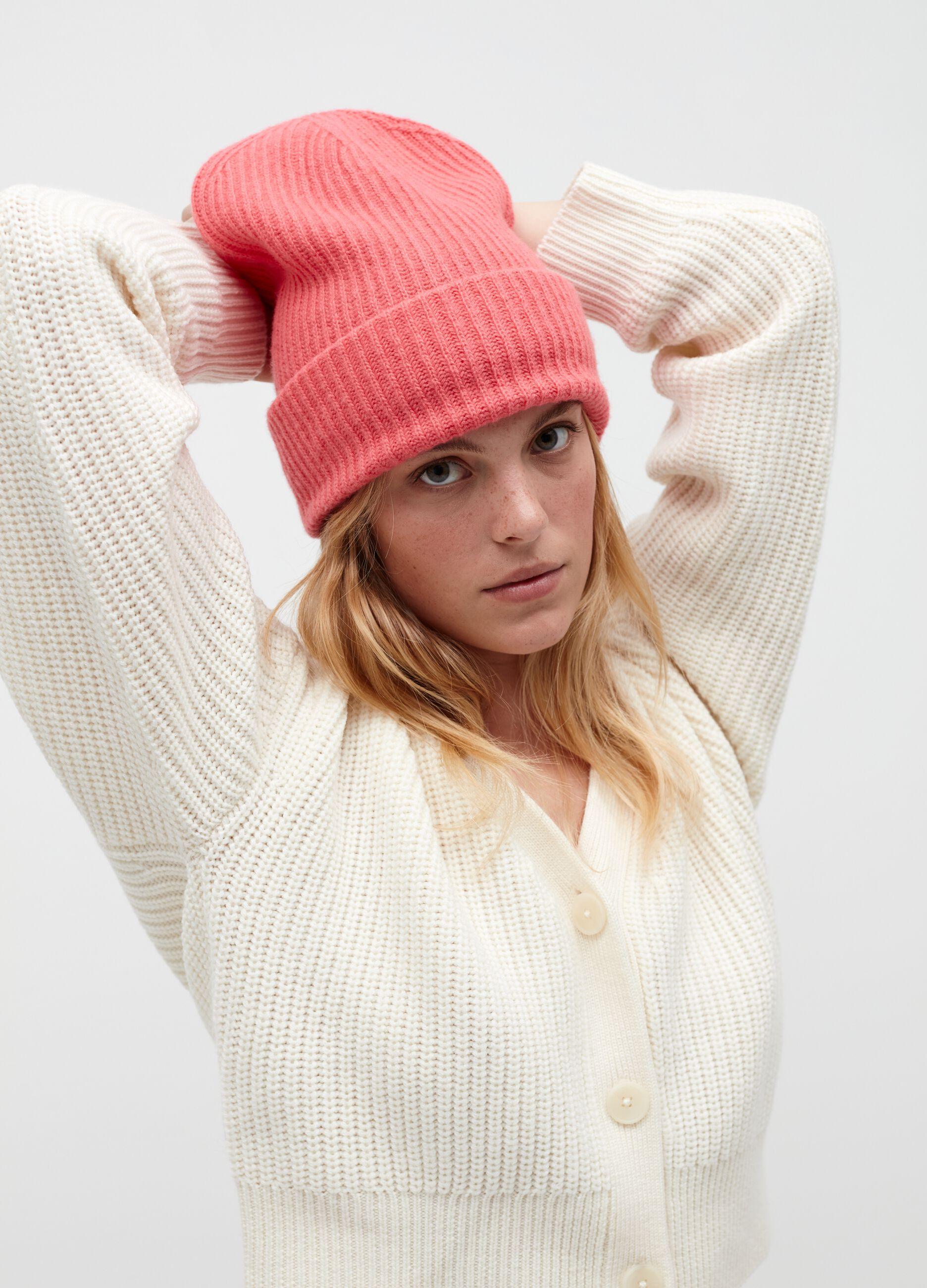 Berretto in lana e cachemire a coste Rosa
