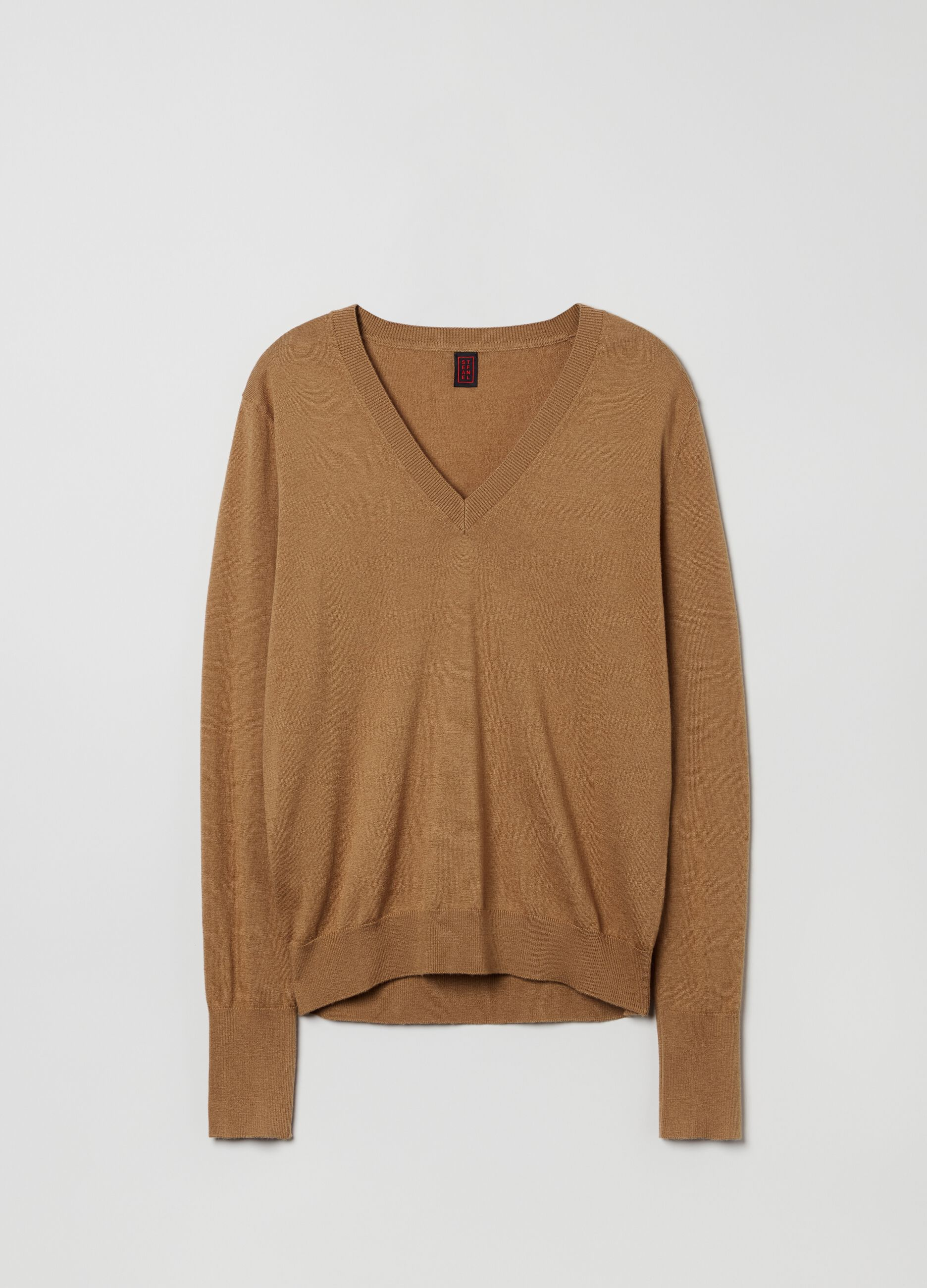 Pullover lana e seta con scollo a V Marrone