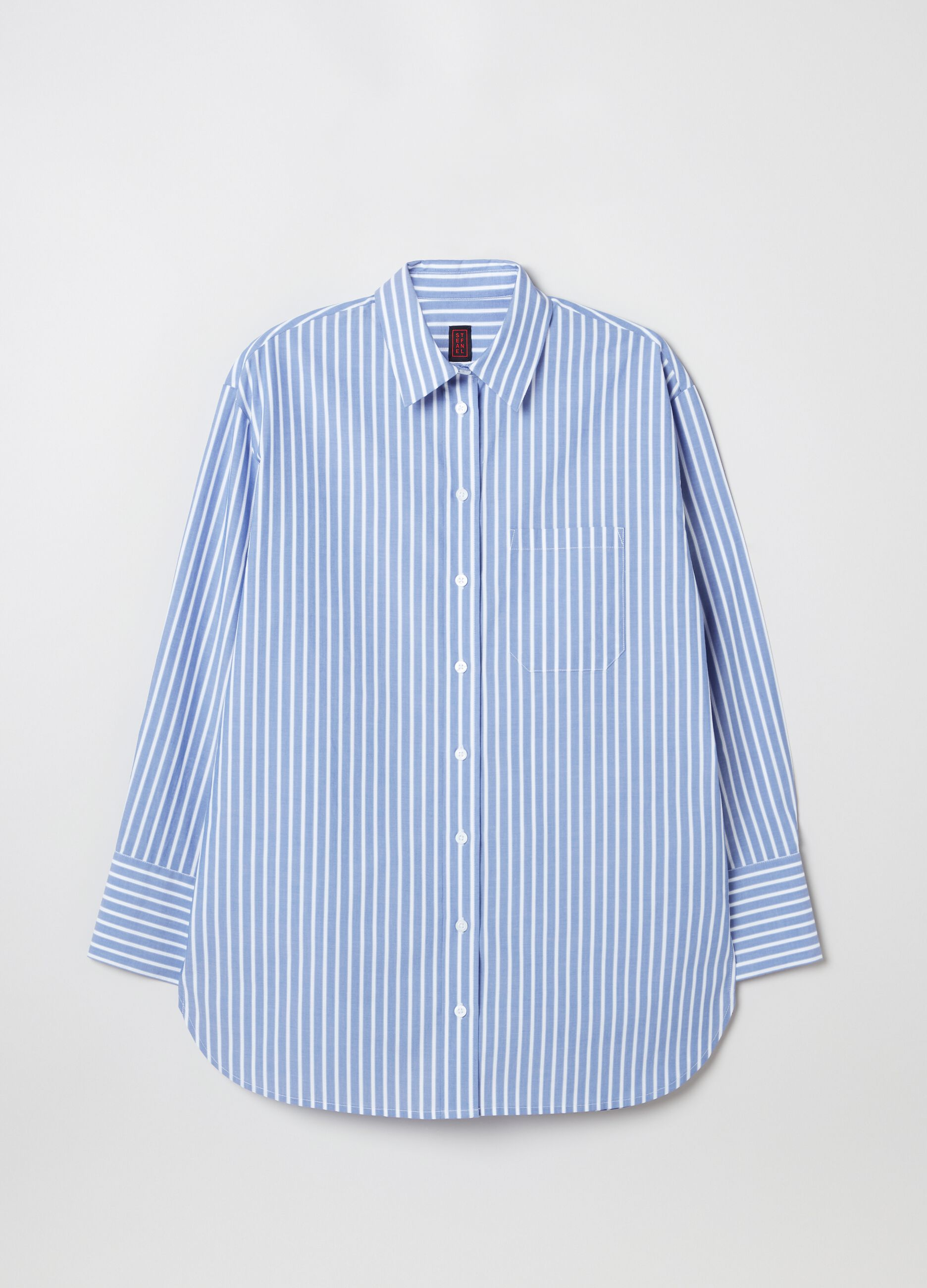 Oversized shirt in poplin with pocket Multicolor