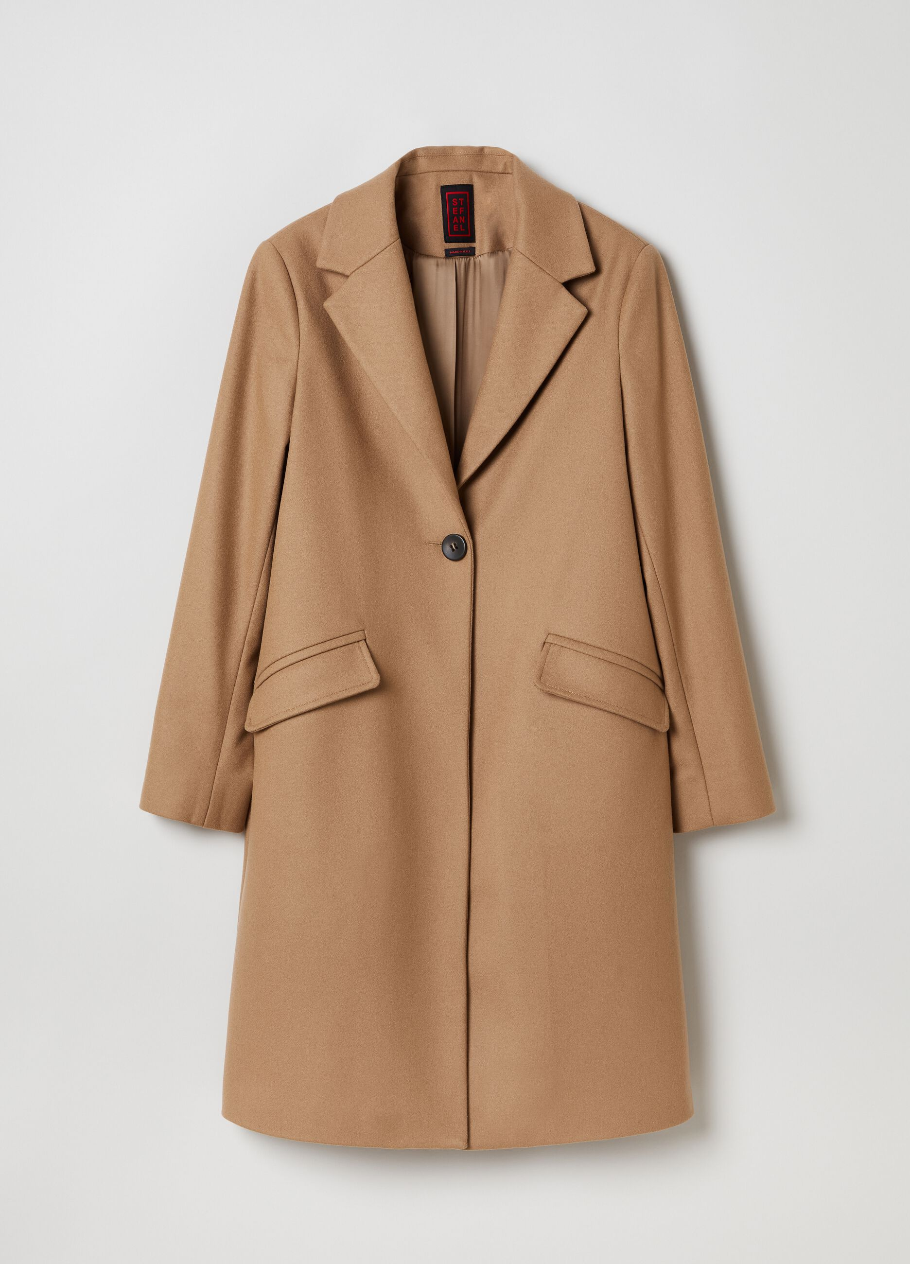 Cappotto monopetto in misto lana Marrone