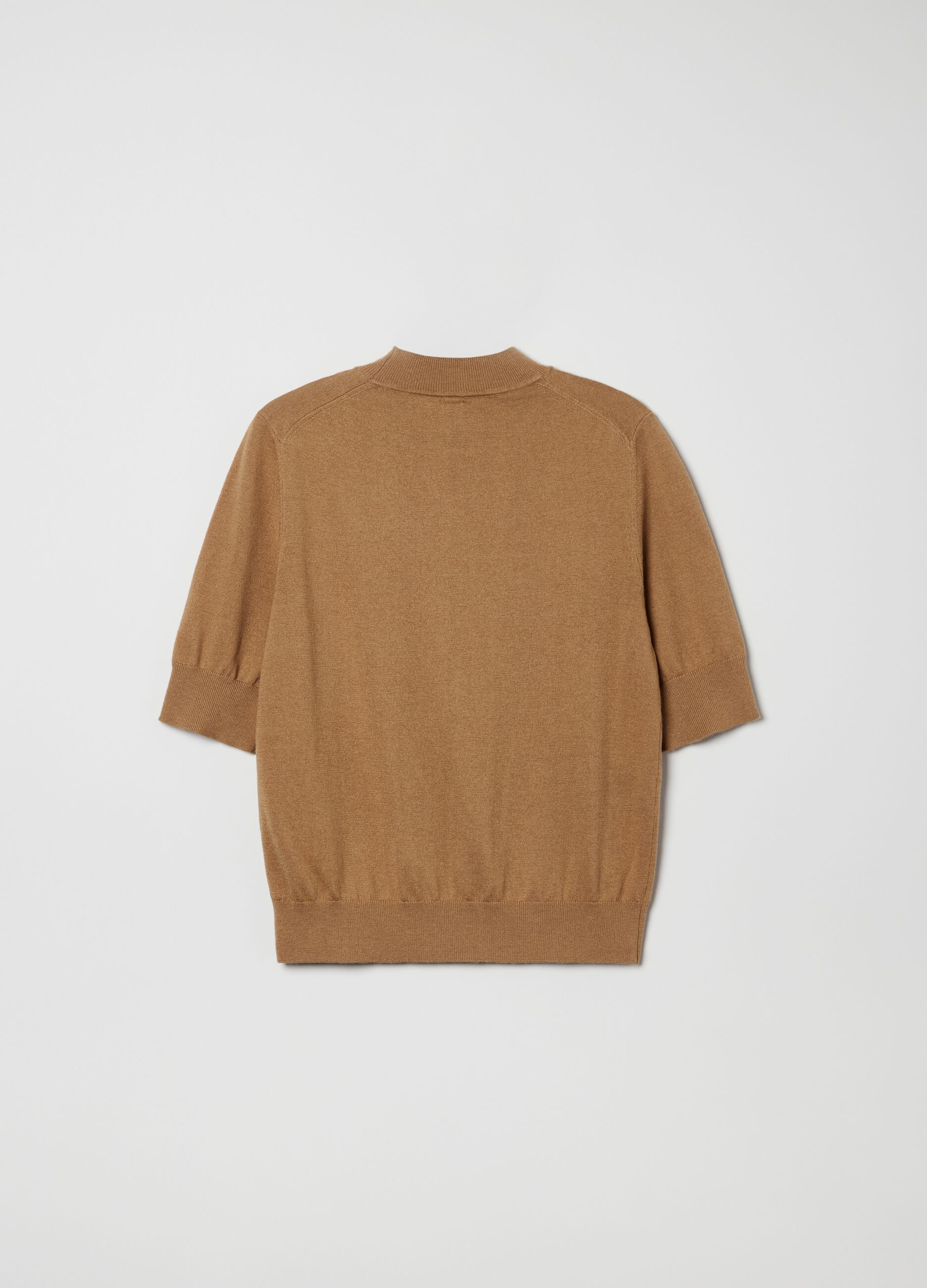 Short-sleeved pullover in wool and silk Brown