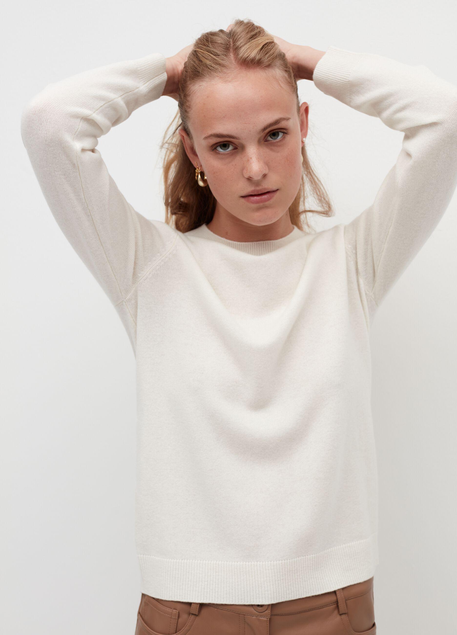 Girocollo in puro cachemire Bianco