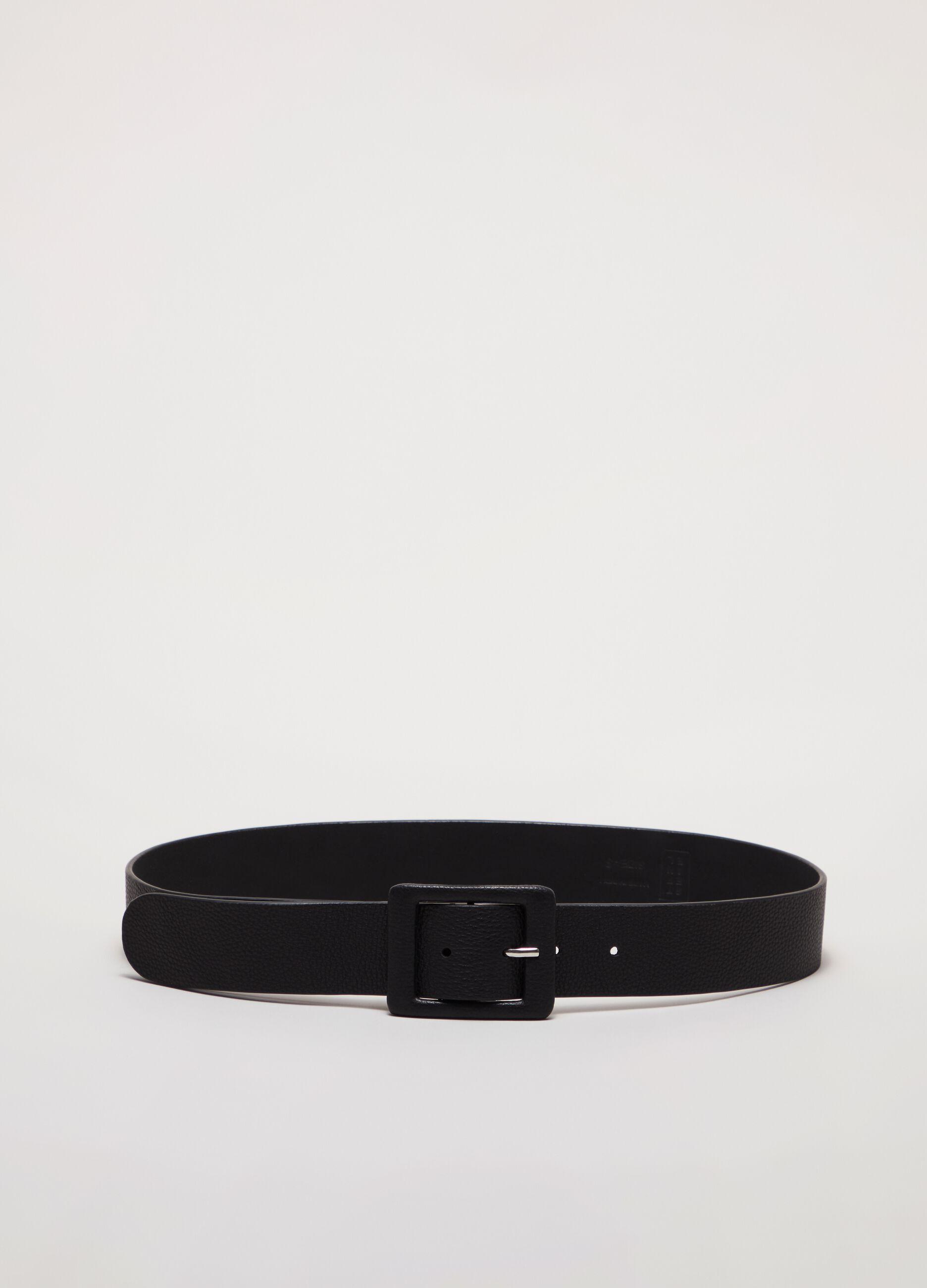 Cintura in pelle con fibbia quadrata Nero
