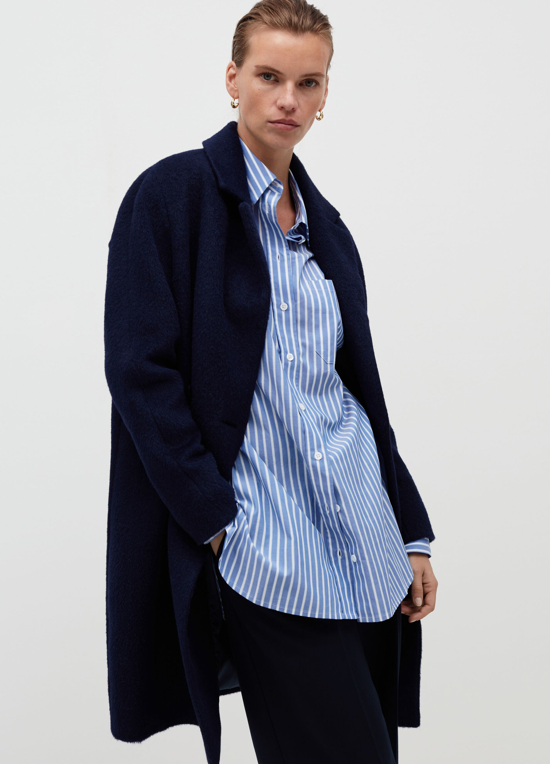 Cappotto doppiopetto in lana alpaca Blu